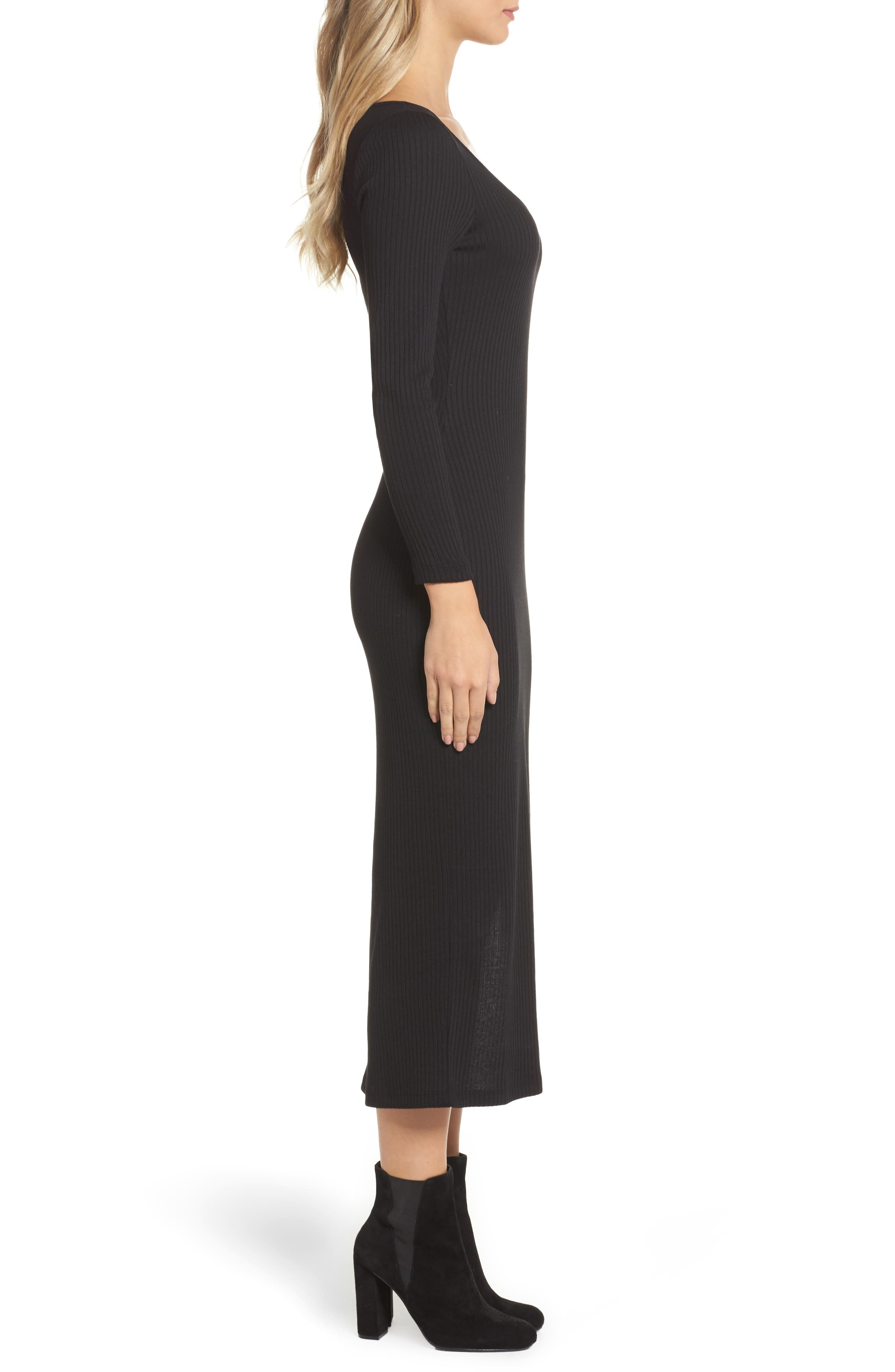 Tommy Ribbed Midi Dress,                             Alternate thumbnail 3, color,                             Black