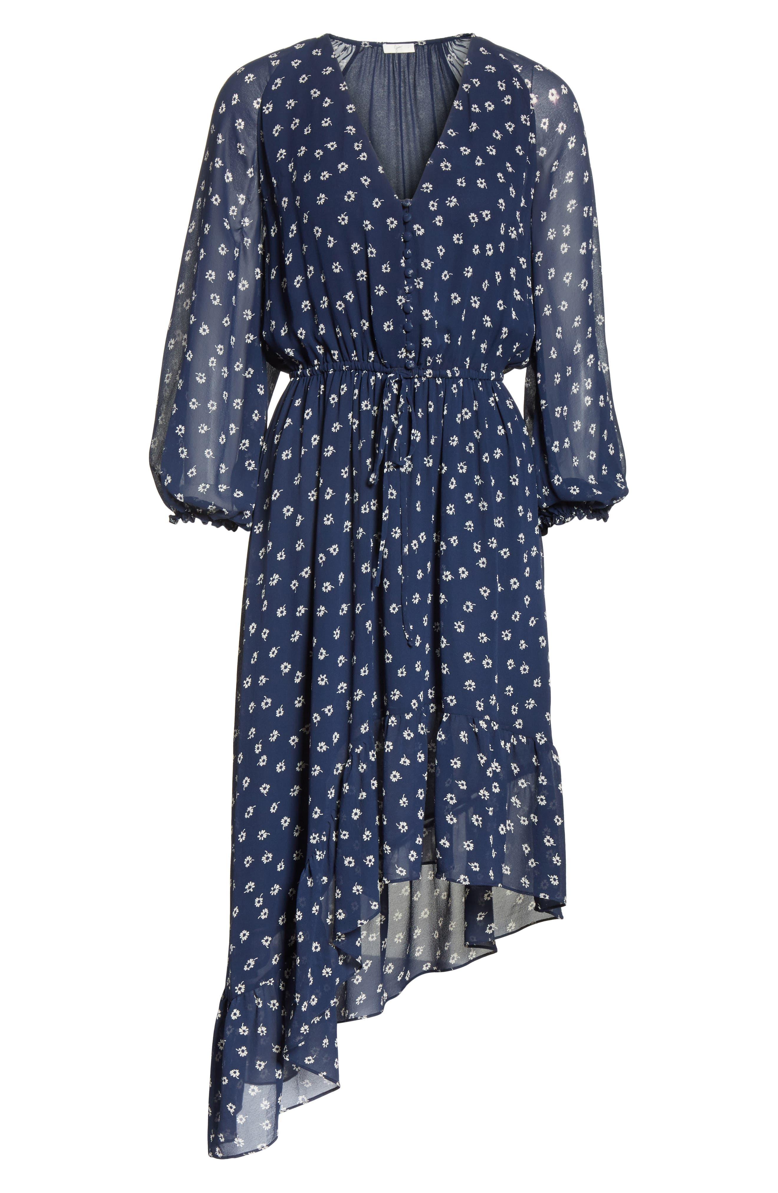 Alithea Print Silk Asymmetrical Dress,                             Alternate thumbnail 6, color,                             Dark Navy