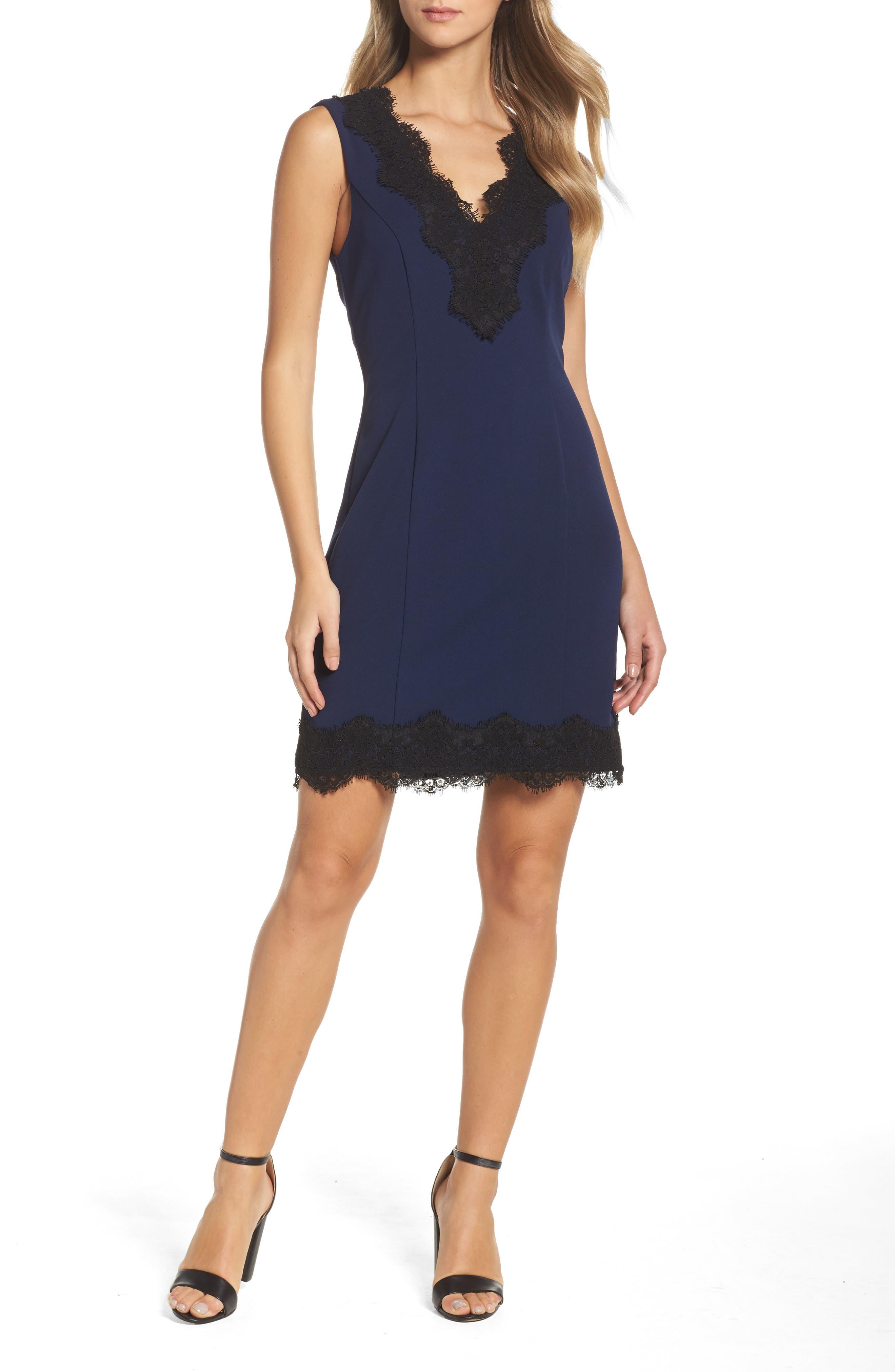 Lace Trim Sheath Dress,                         Main,                         color, Navy