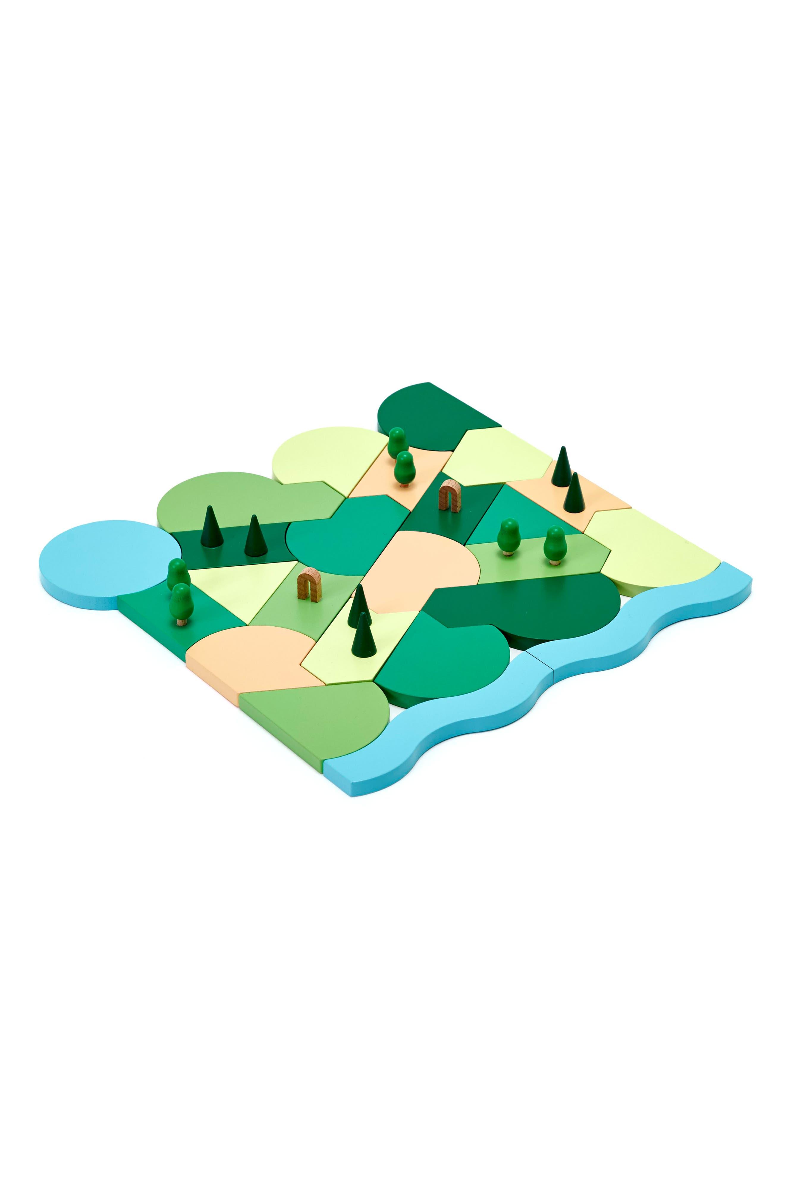 Areaware Blockitecture Parkland 24-Piece Wooden Puzzle Set