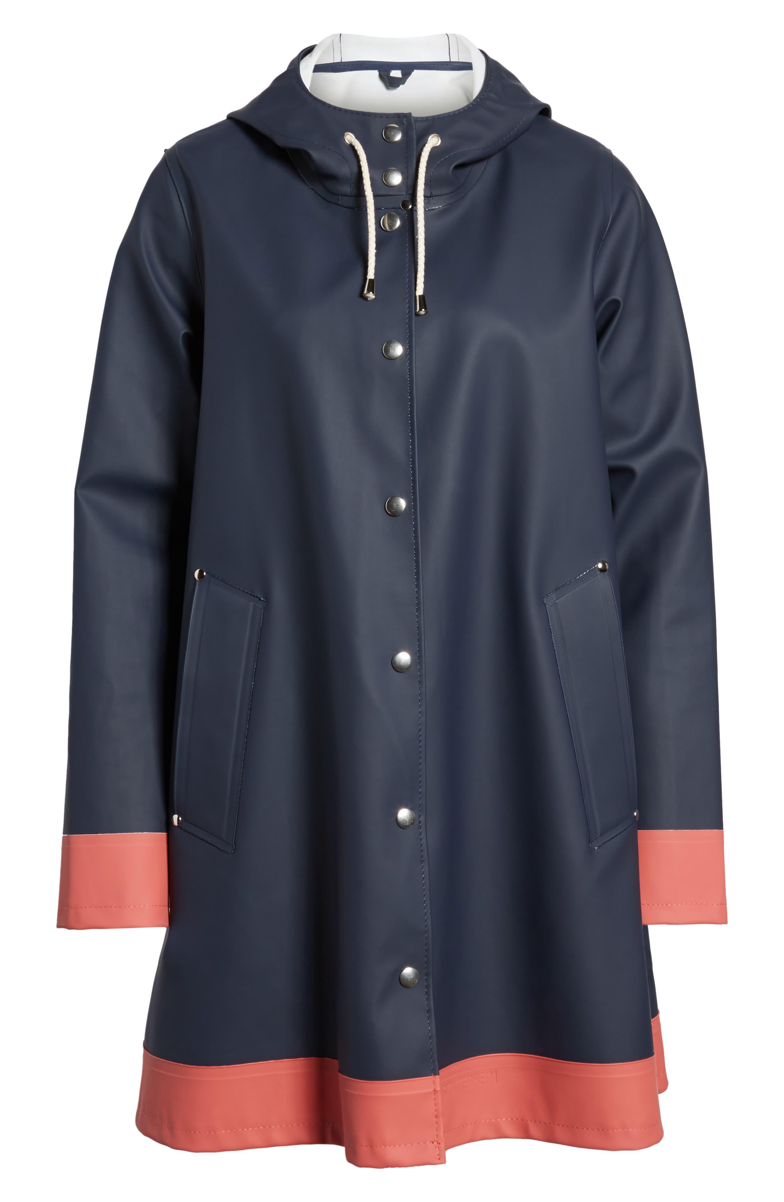 Mosebacke Frame Colorblock Raincoat,                             Alternate thumbnail 6, color,                             Navy/ Faded Rose