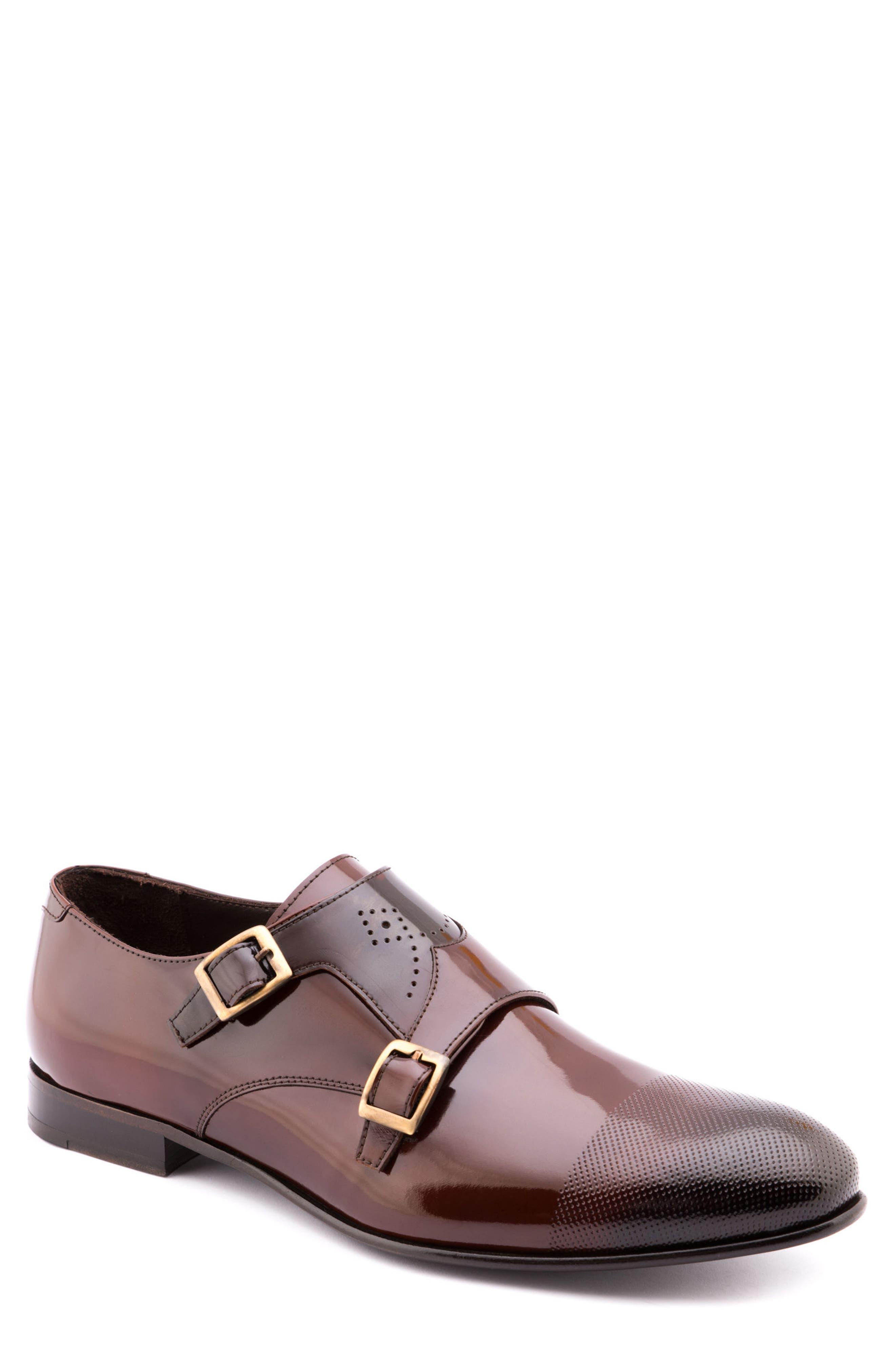 Martin Double Monk Strap Shoe,                             Main thumbnail 1, color,                             Brown