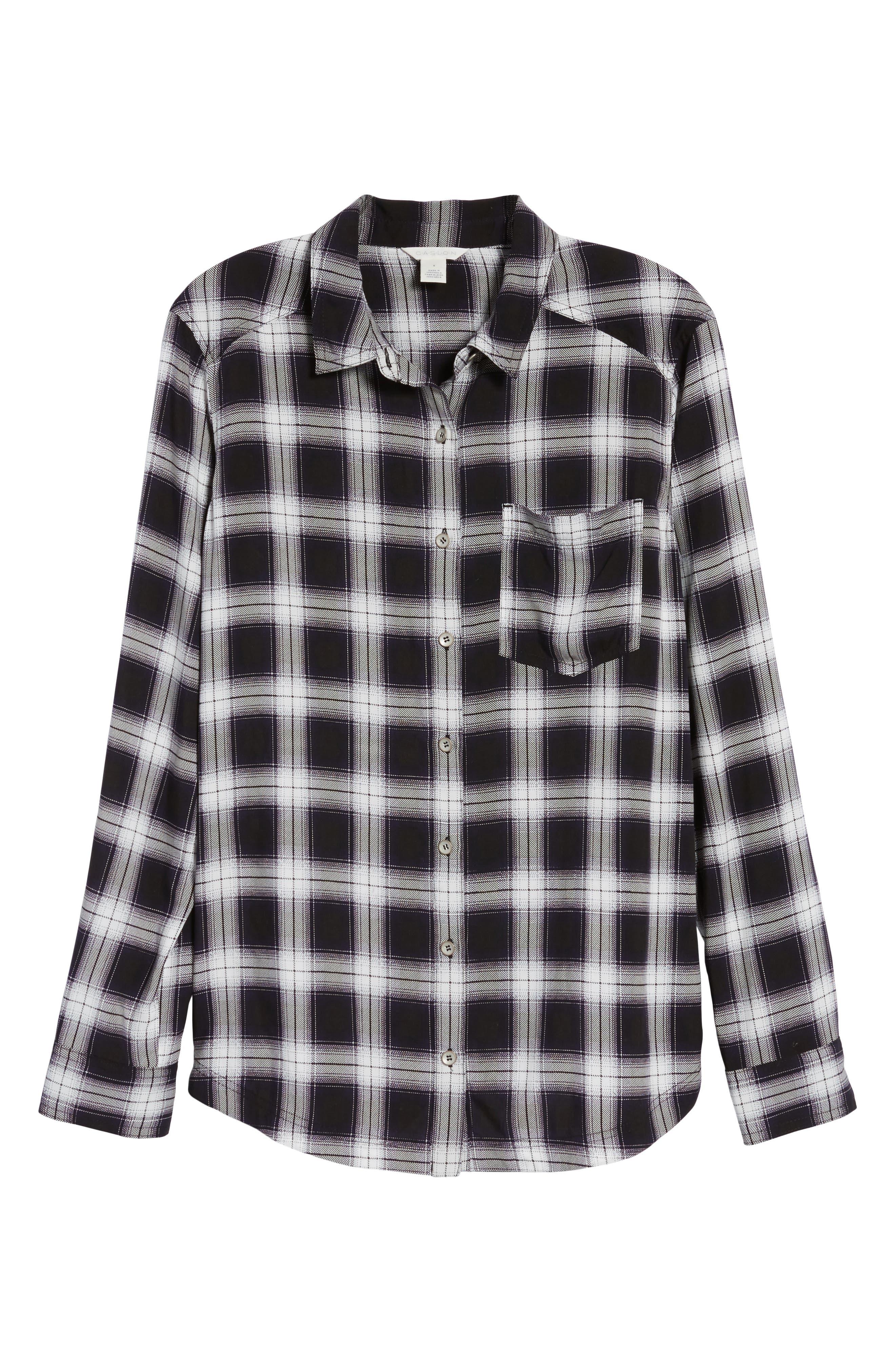 Plaid Shirt,                             Alternate thumbnail 6, color,                             Black- White Plaid
