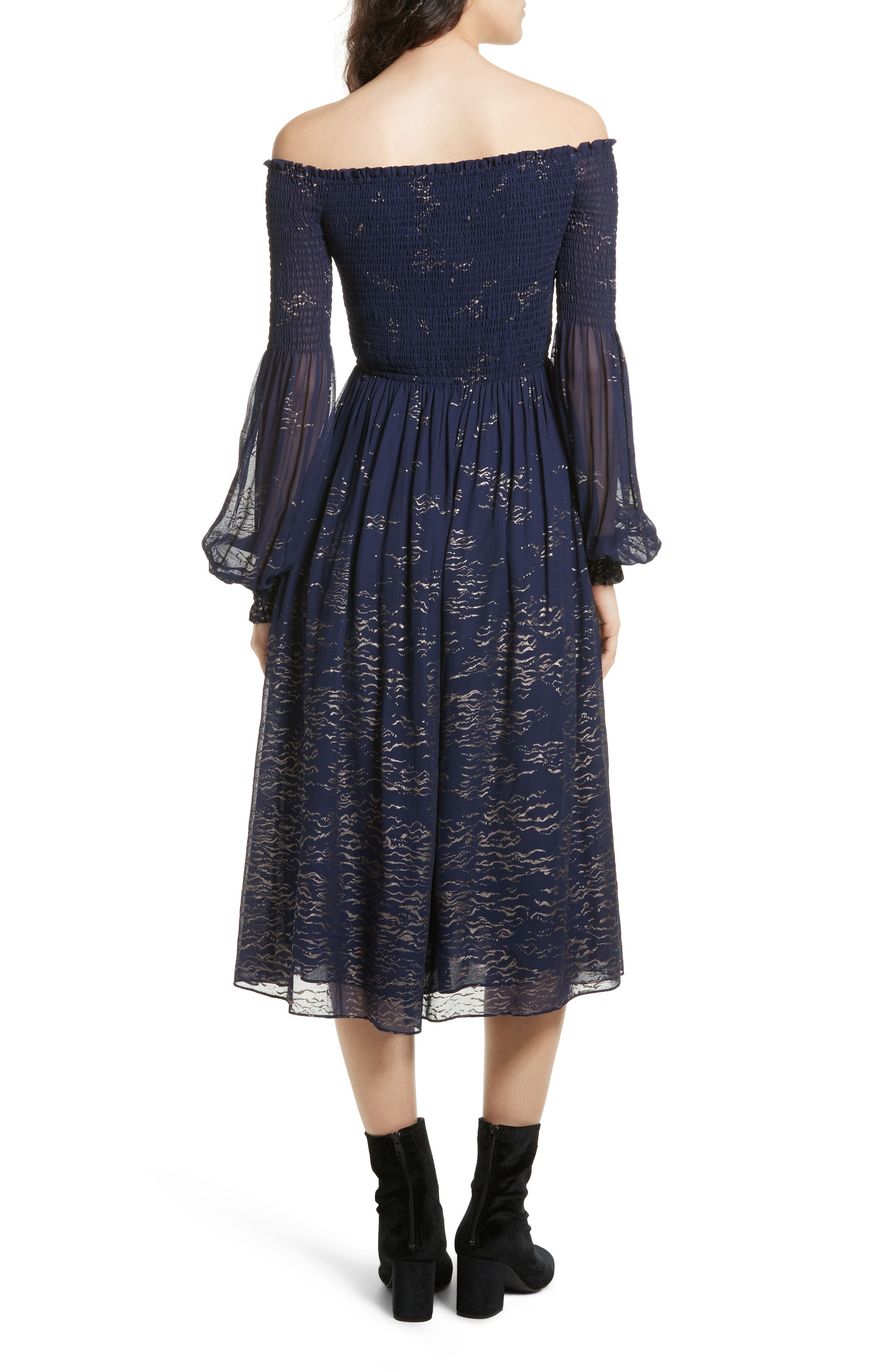Foiled Smocked Midi Dress,                             Alternate thumbnail 2, color,                             Blue Combo