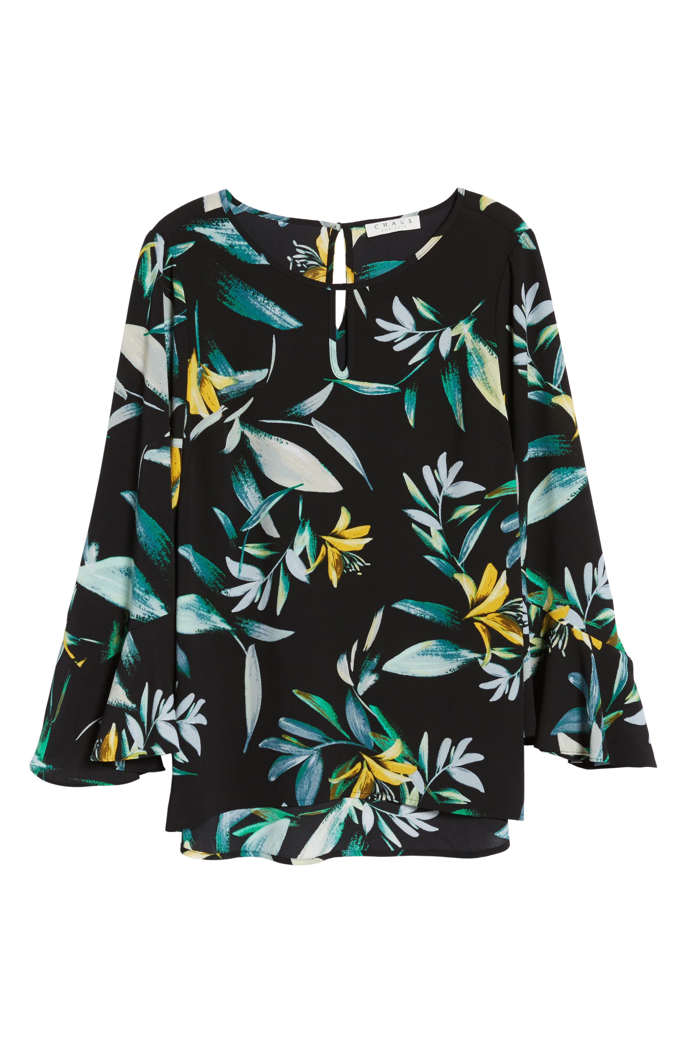 Floral Print Bell Sleeve Blouse,                             Alternate thumbnail 6, color,                             Rich Black