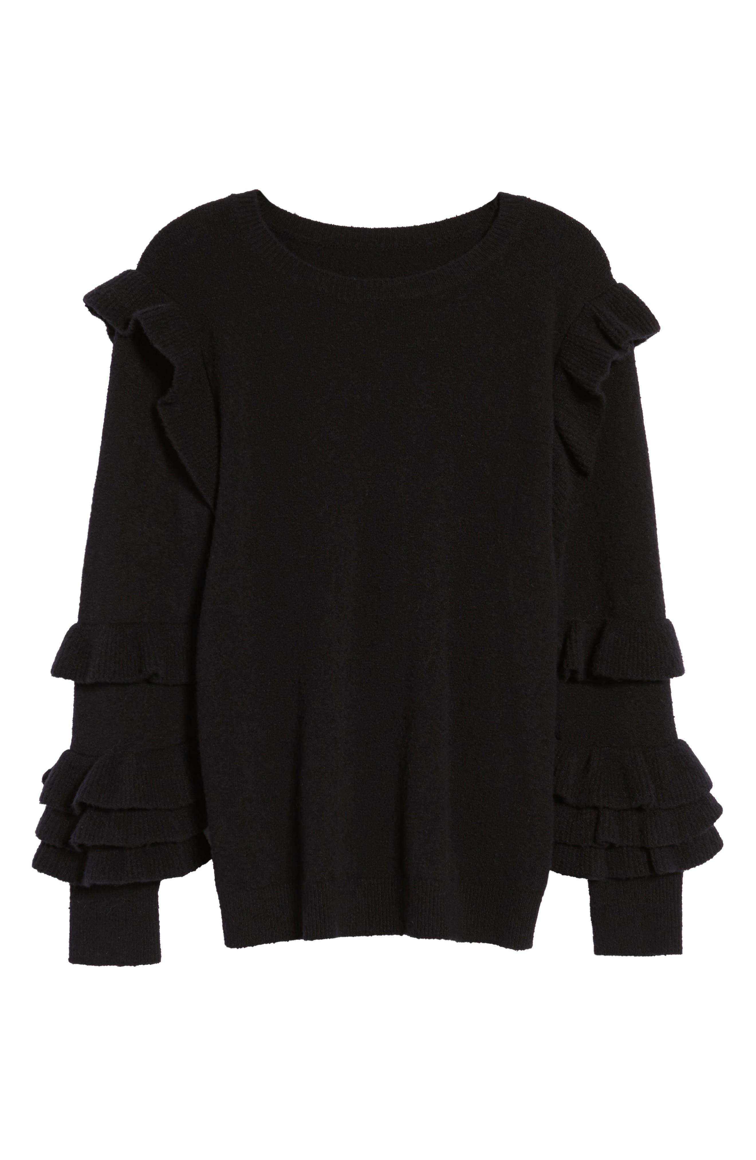 Ruffle Sleeve Sweater,                             Alternate thumbnail 6, color,                             Black