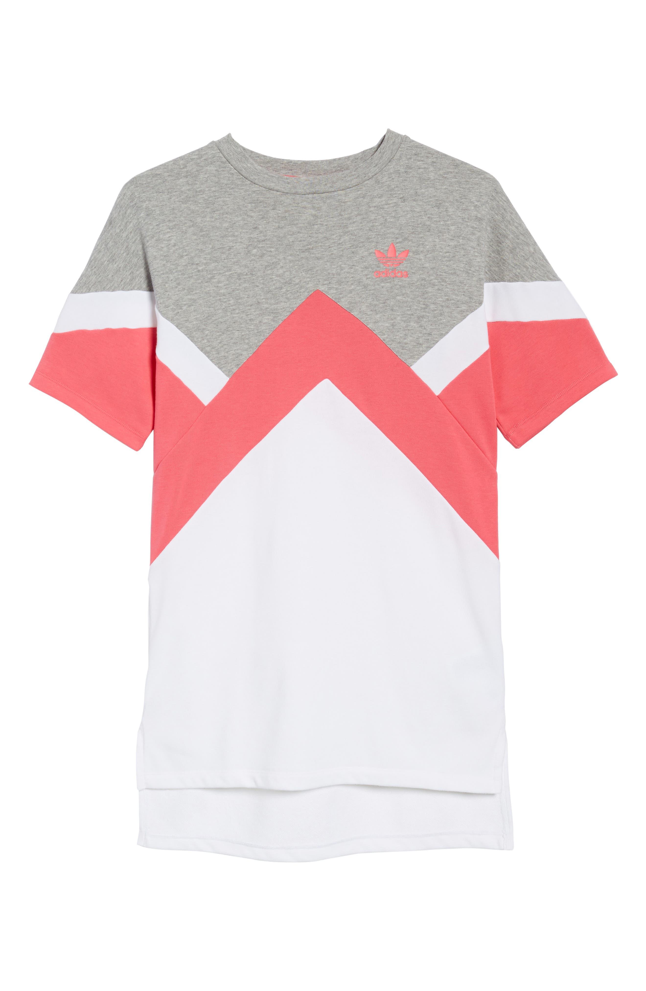 T-Shirt Dress,                             Main thumbnail 1, color,                             Grey / Pink/ White