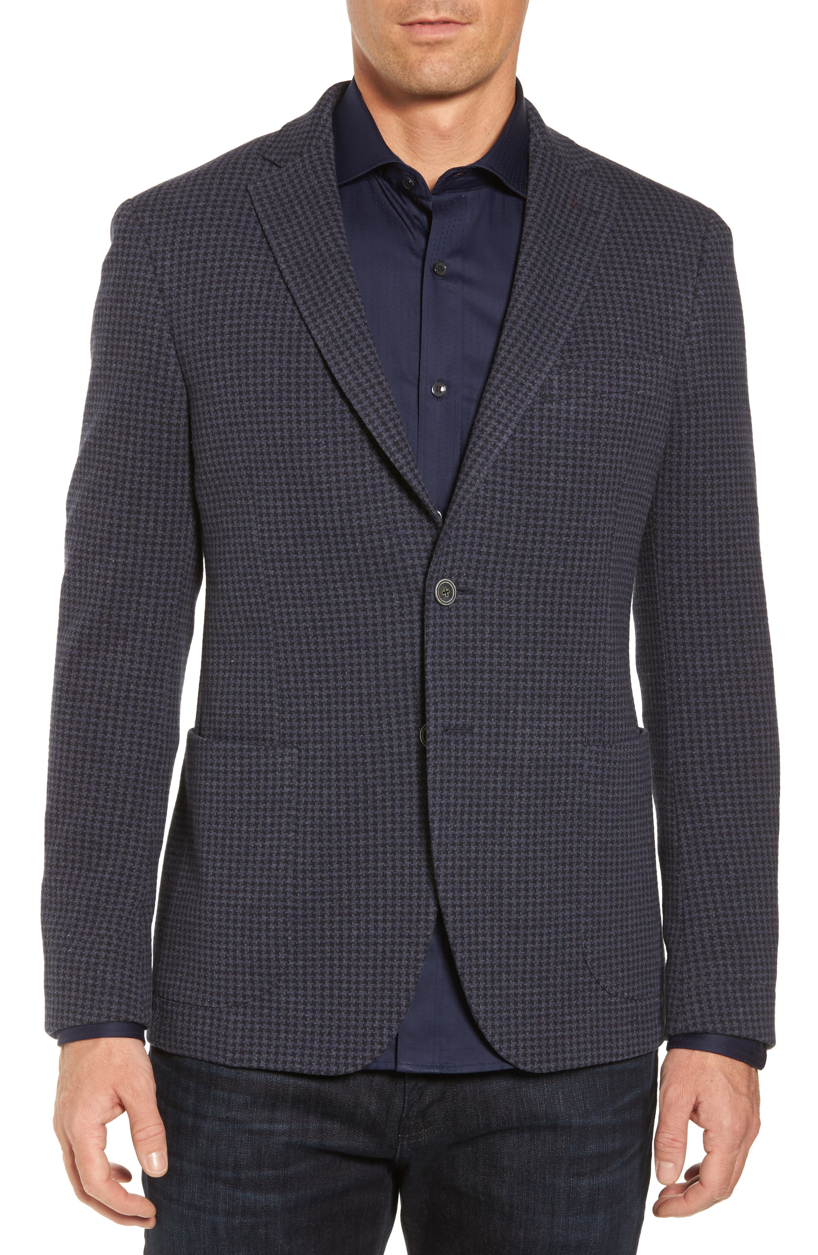 Houndstooth Cotton Knit Blazer,                             Main thumbnail 1, color,                             Navy