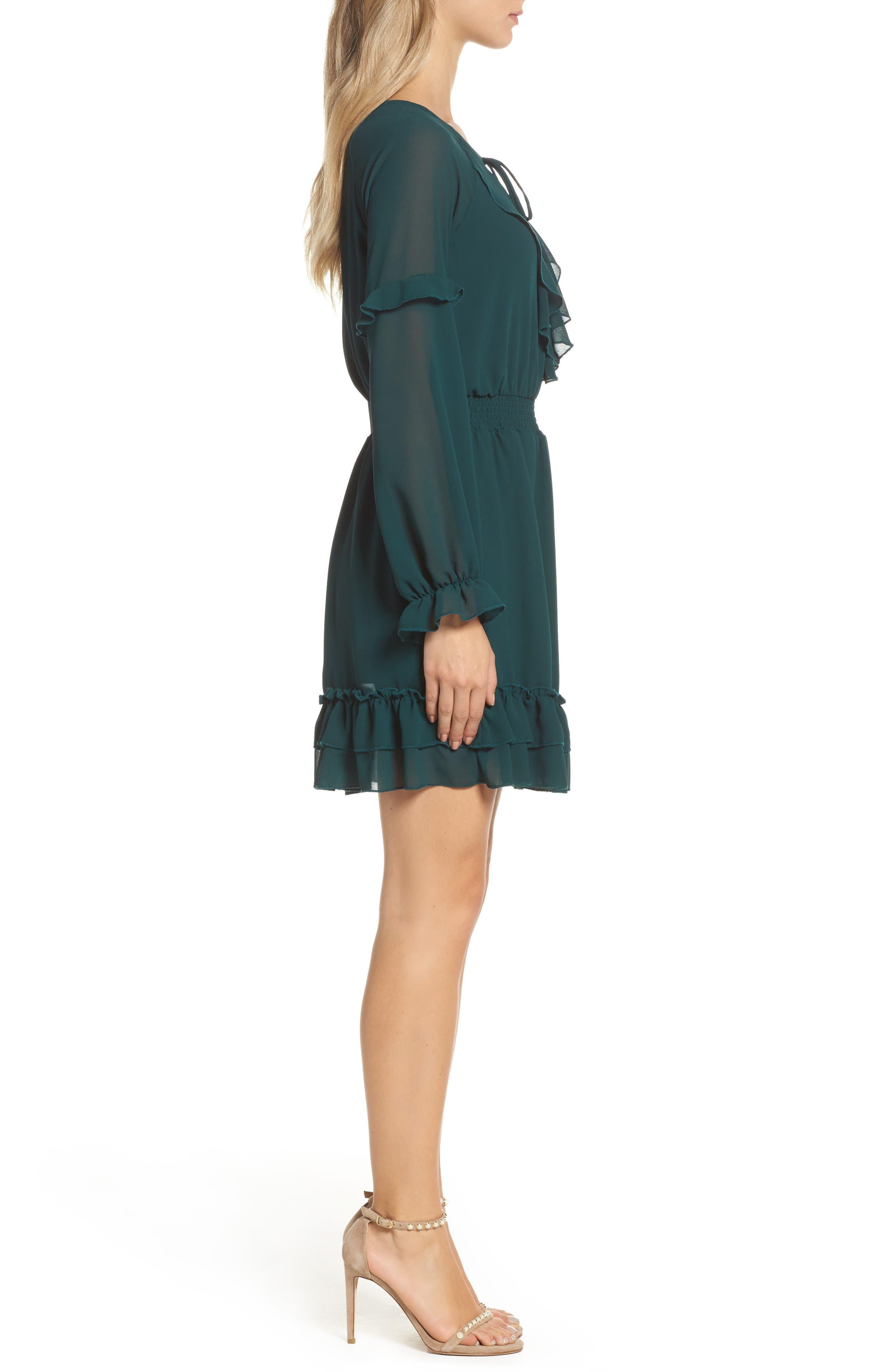 Julia Chiffon Skater Dress,                             Alternate thumbnail 3, color,                             Hunter