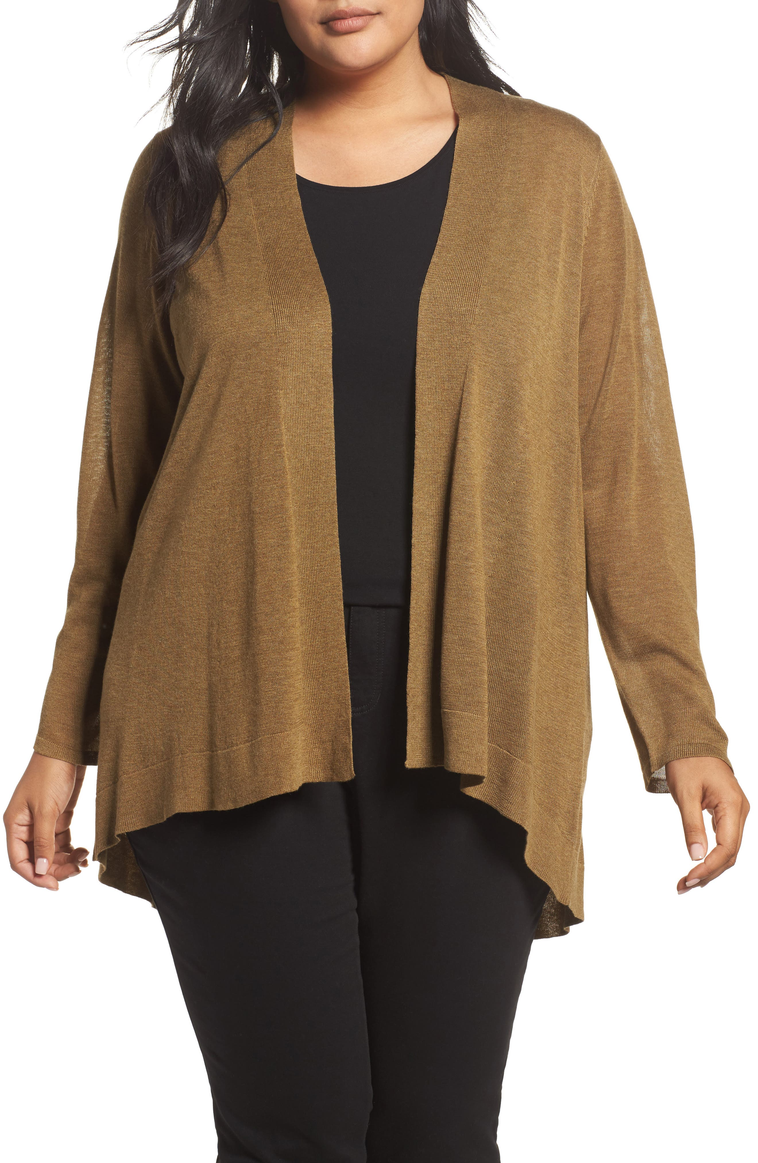 Eileen Fisher Shaped Tencel® & Merino Wool Cardigan (Plus Size)