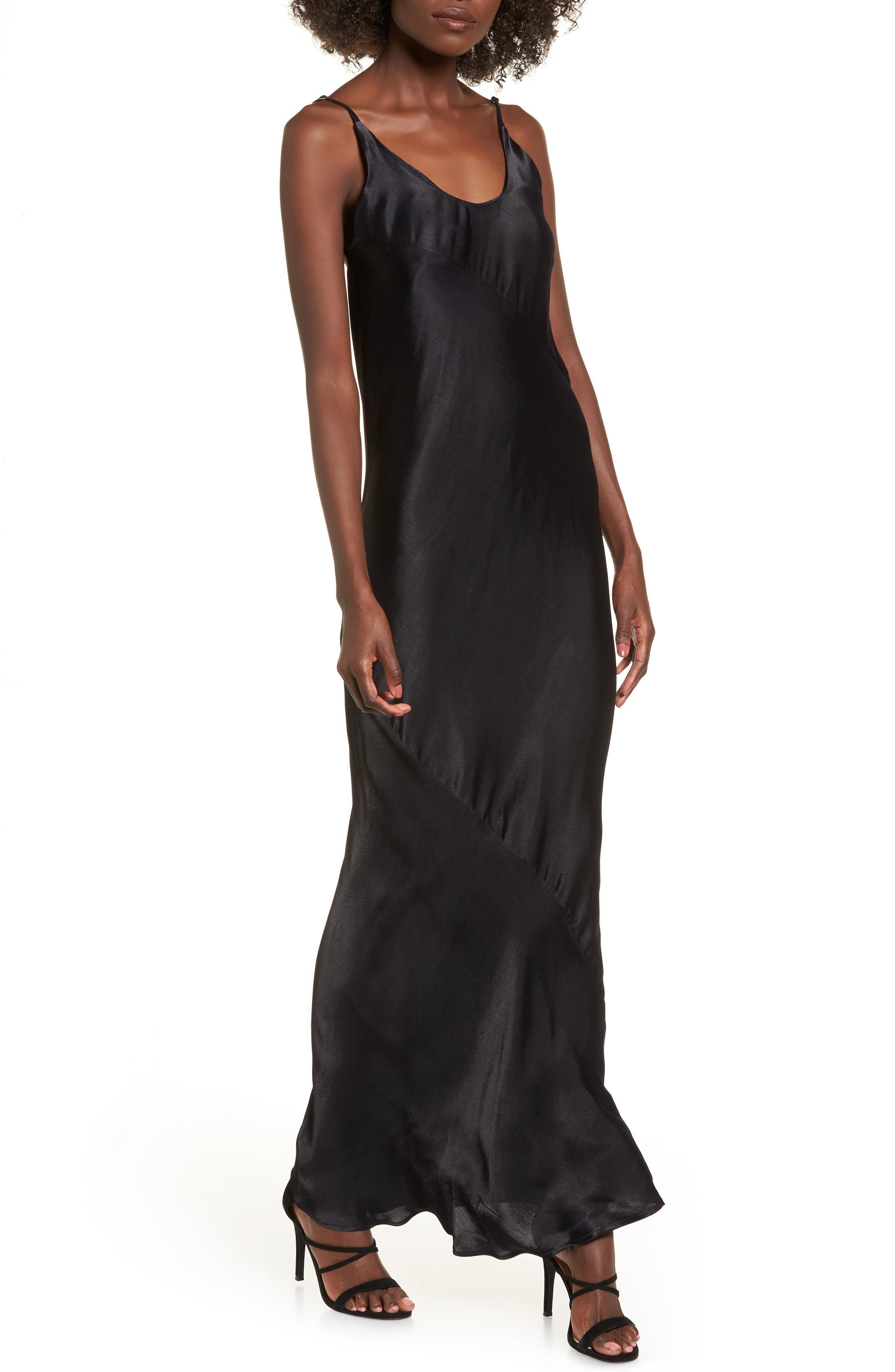 Naomi Maxi Slipdress,                         Main,                         color, Black
