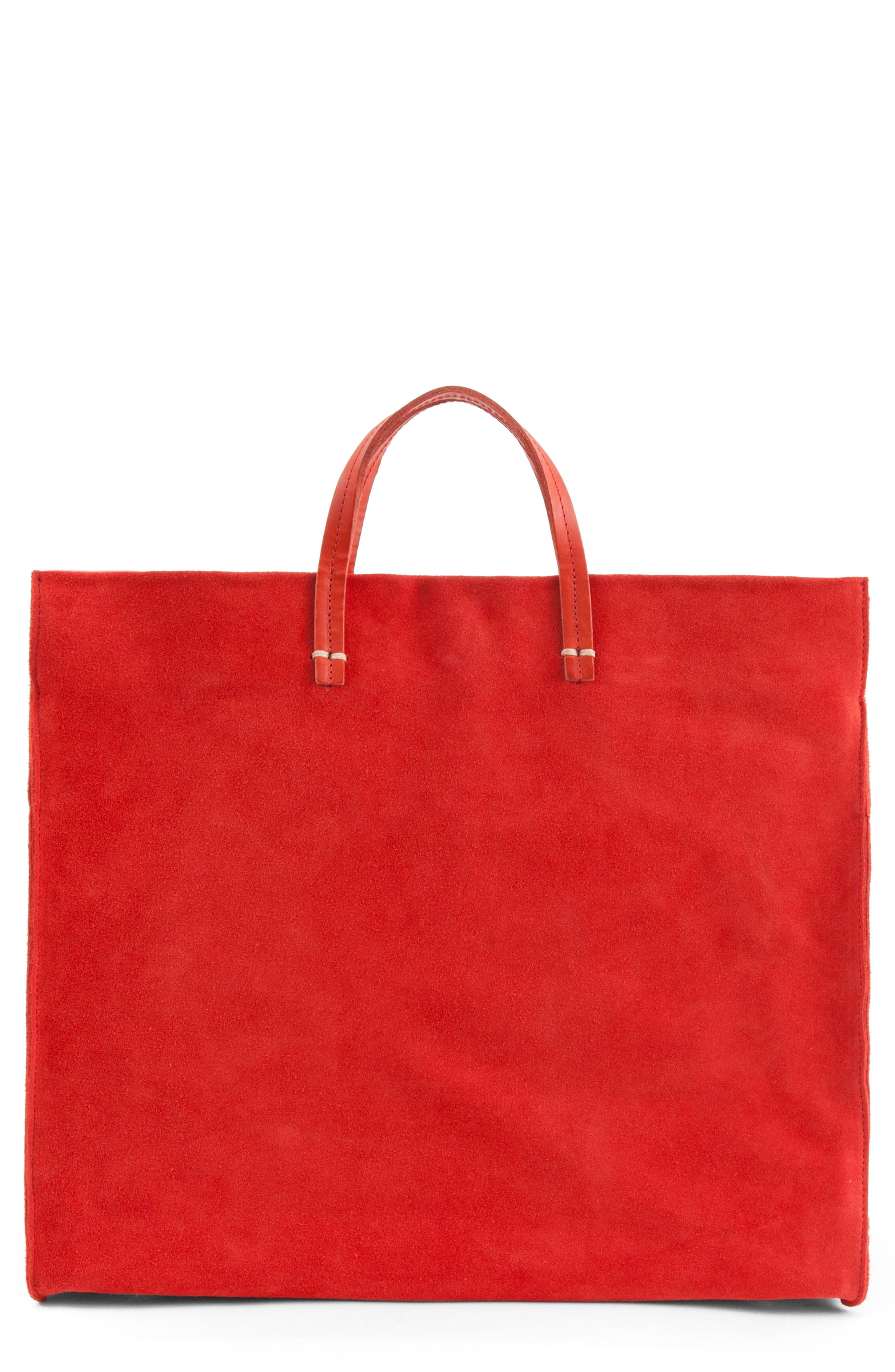 Maison Simple Suede Tote,                             Main thumbnail 1, color,                             Red Suede