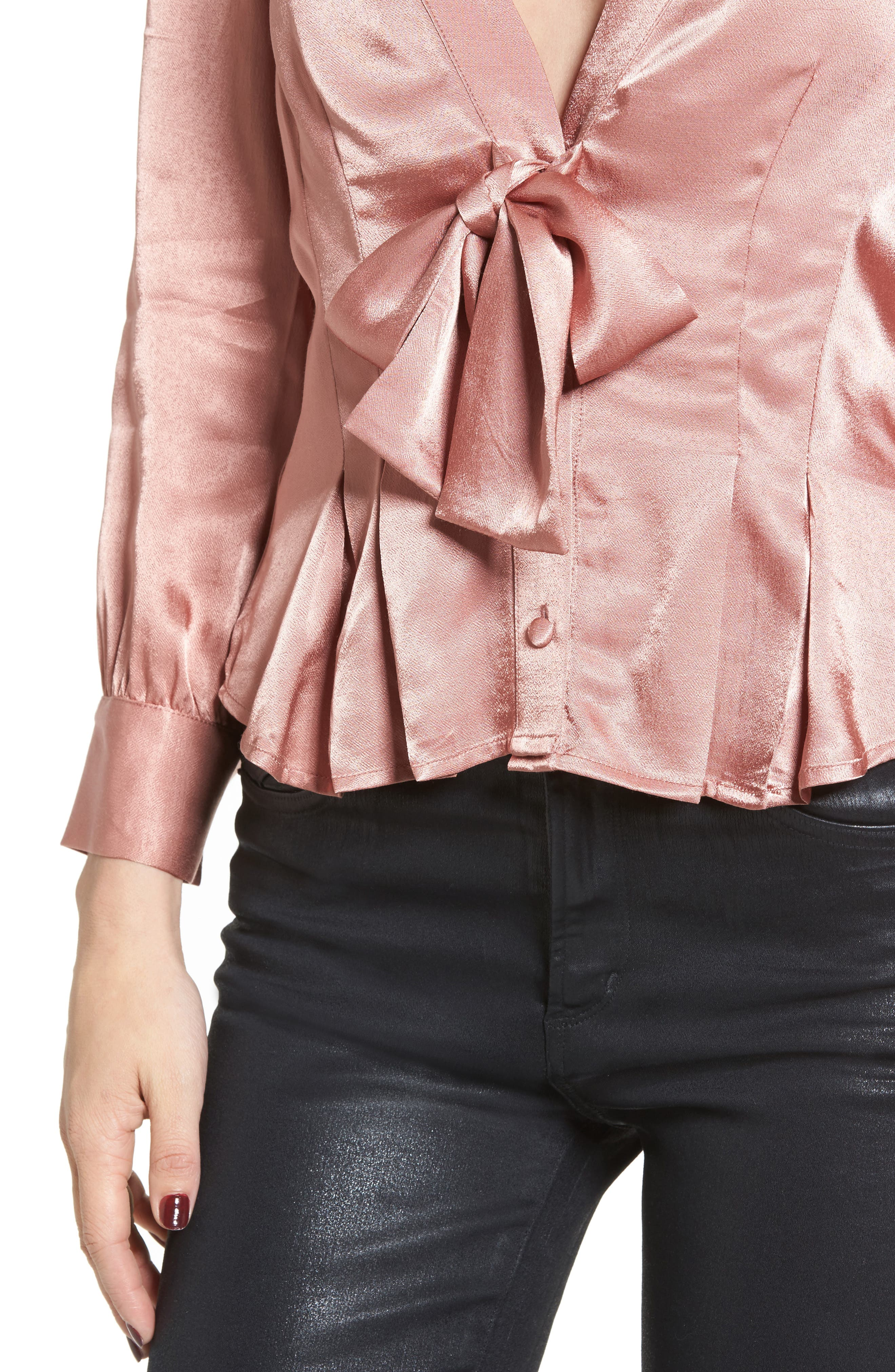 Errol Bow Blouse,                             Alternate thumbnail 4, color,                             Dusty Rose