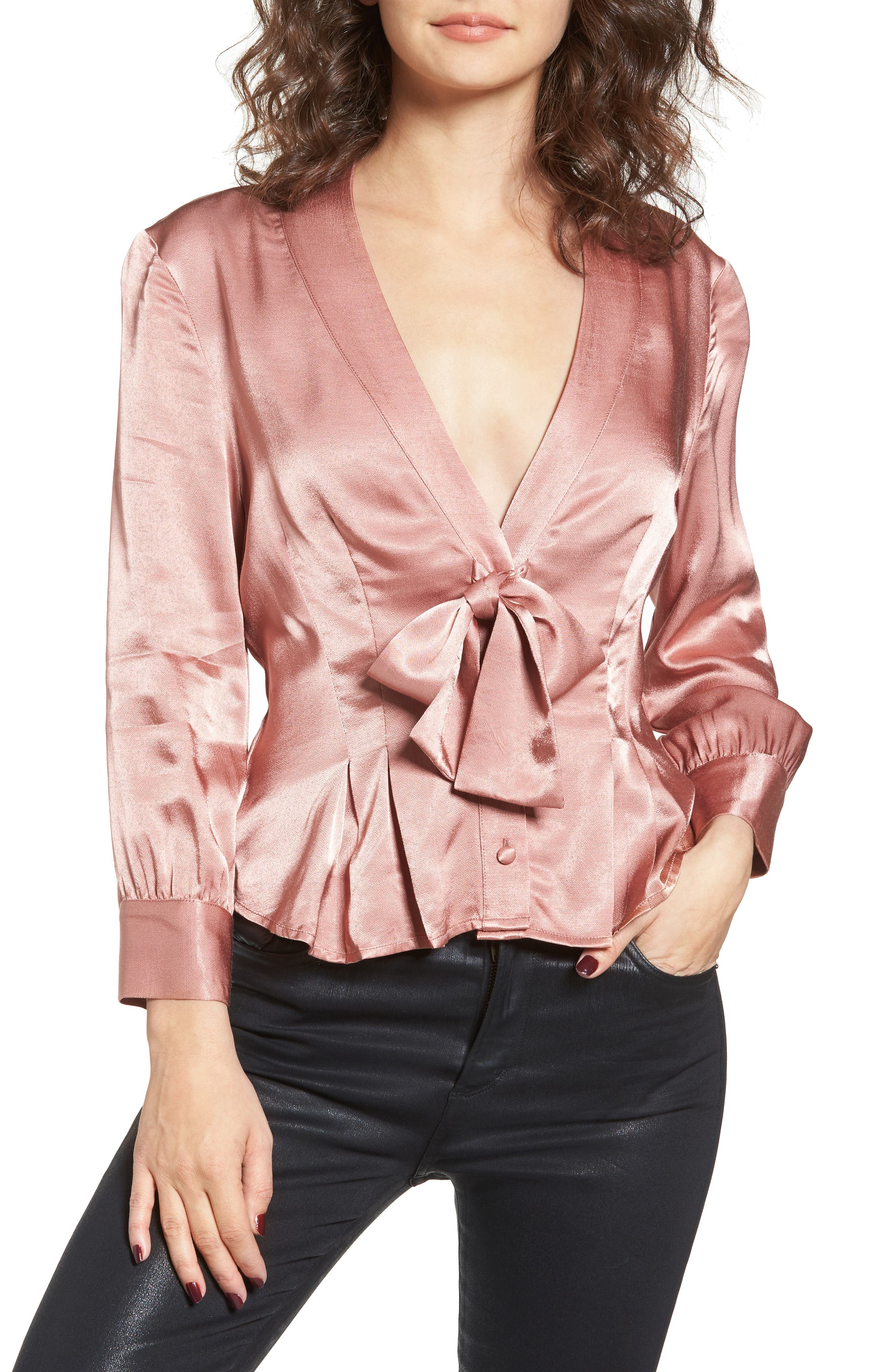 Errol Bow Blouse,                         Main,                         color, Dusty Rose