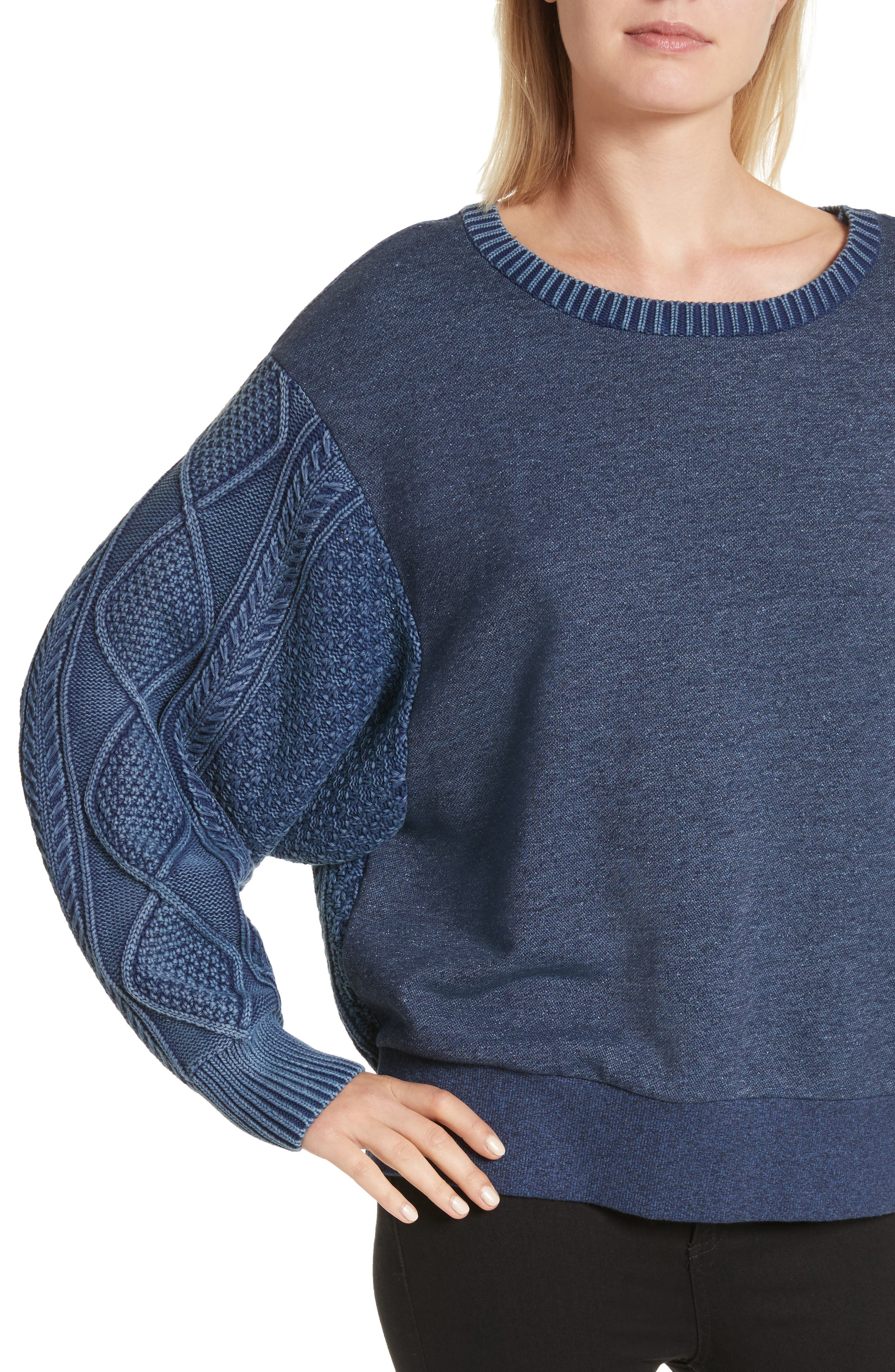 Harper Cable Knit Sweater,                             Alternate thumbnail 4, color,                             Indigo