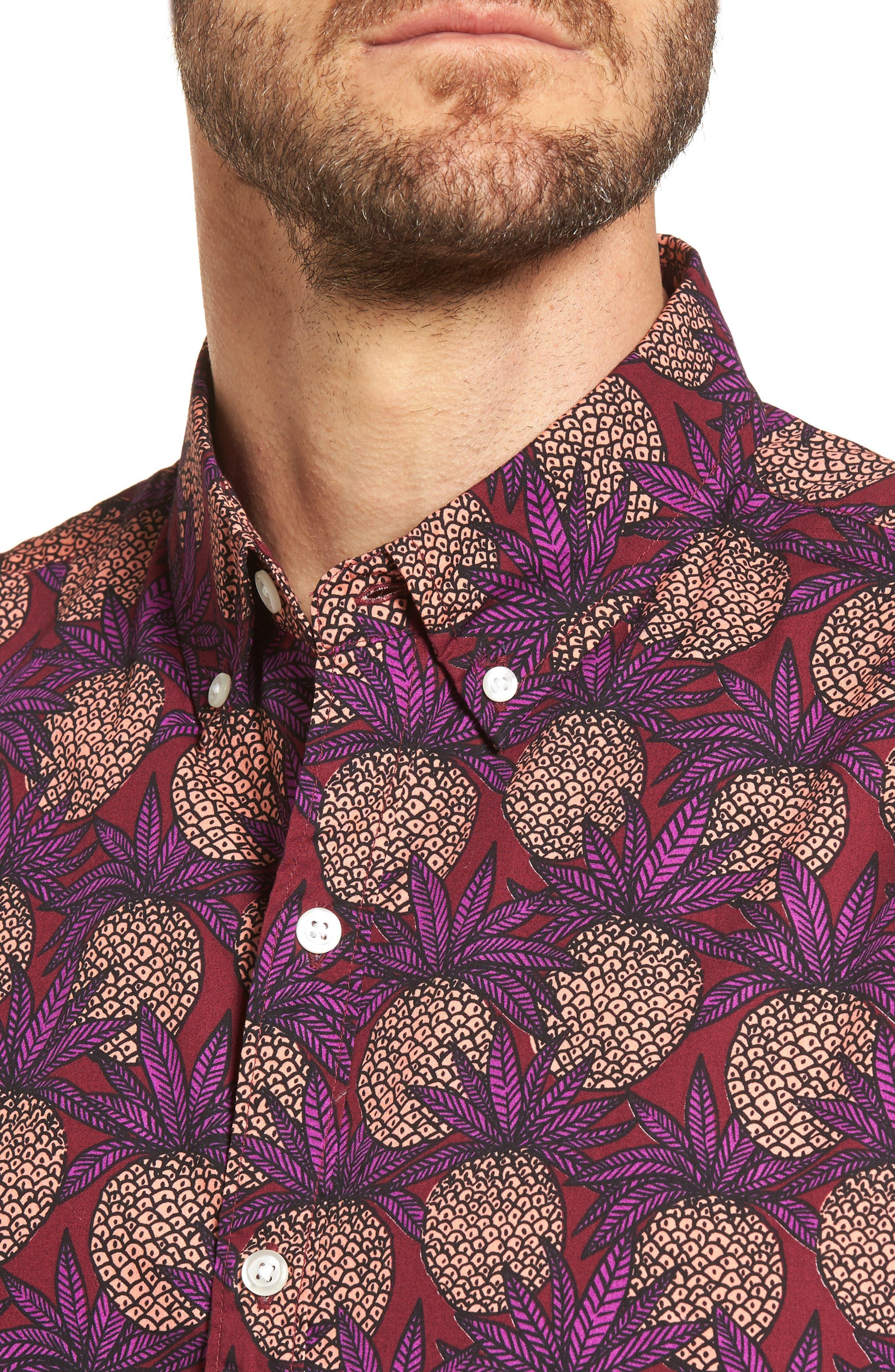 Slim Fit Pineapple Sport Shirt,                             Alternate thumbnail 4, color,                             Pineapple Fields Sangria