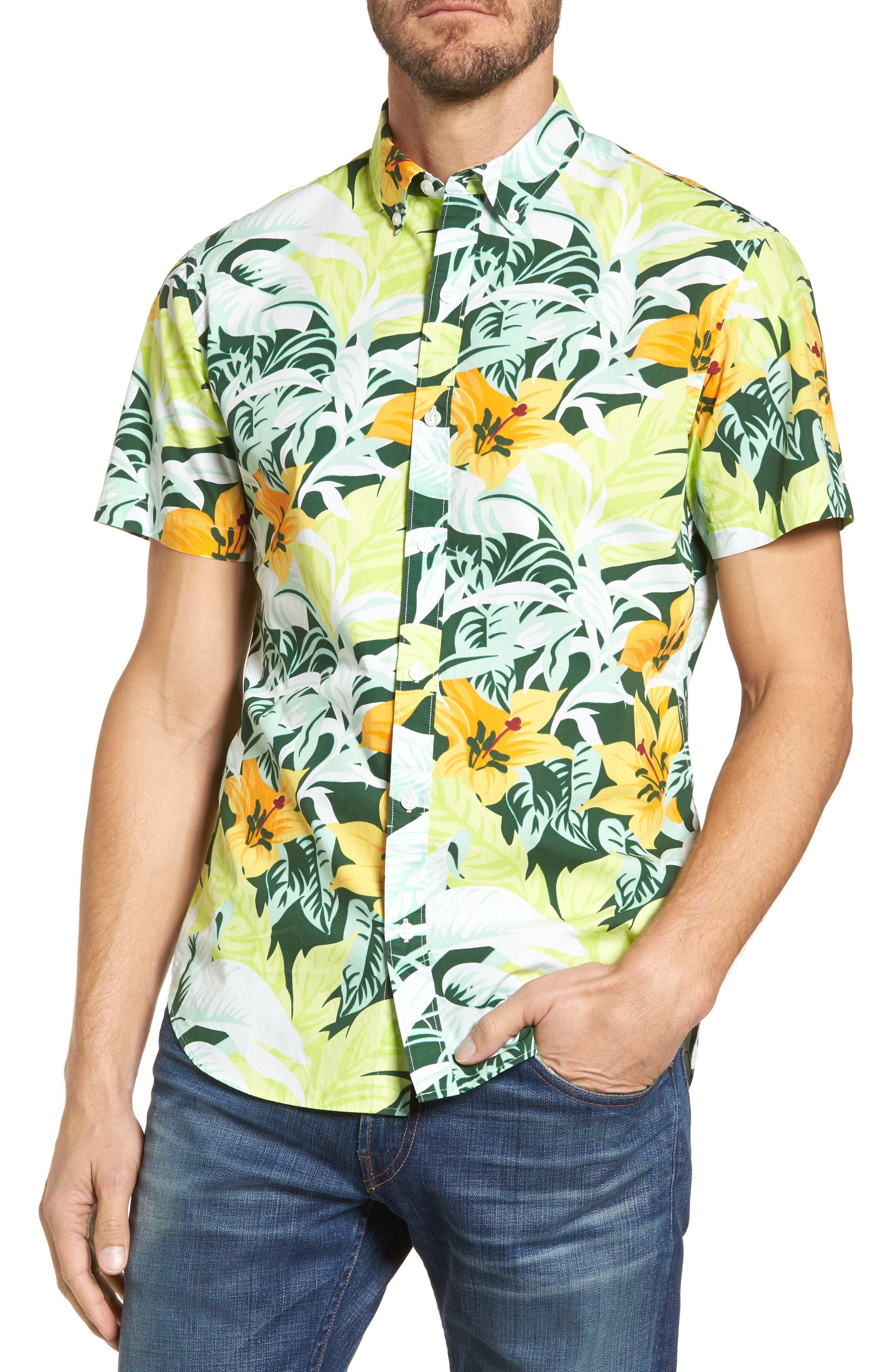 Slim Fit Tropical Sport Shirt,                         Main,                         color, Hot Tropics Marigold