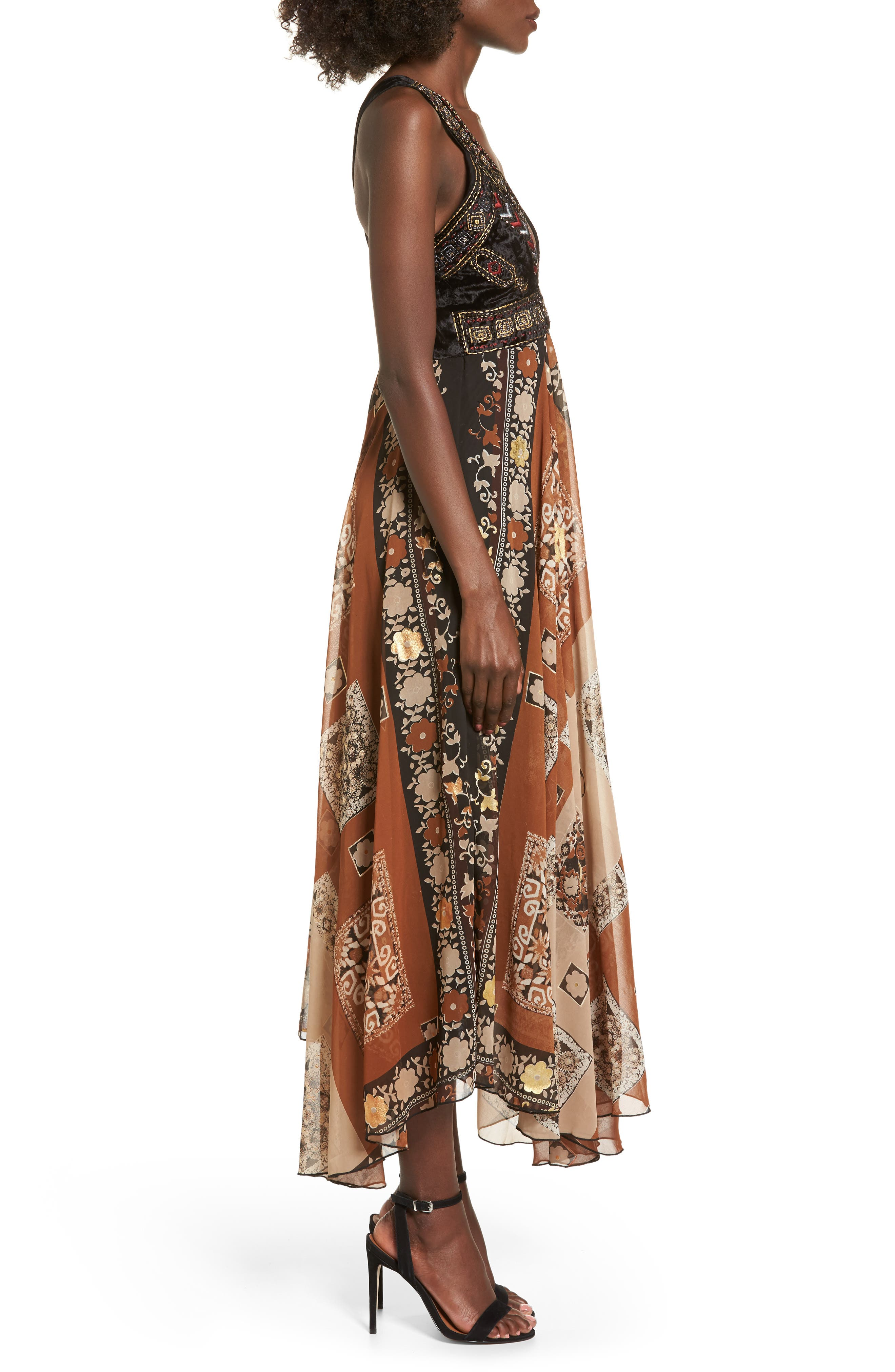 Sonder Embroidered Maxi Dress,                             Alternate thumbnail 4, color,                             Brown