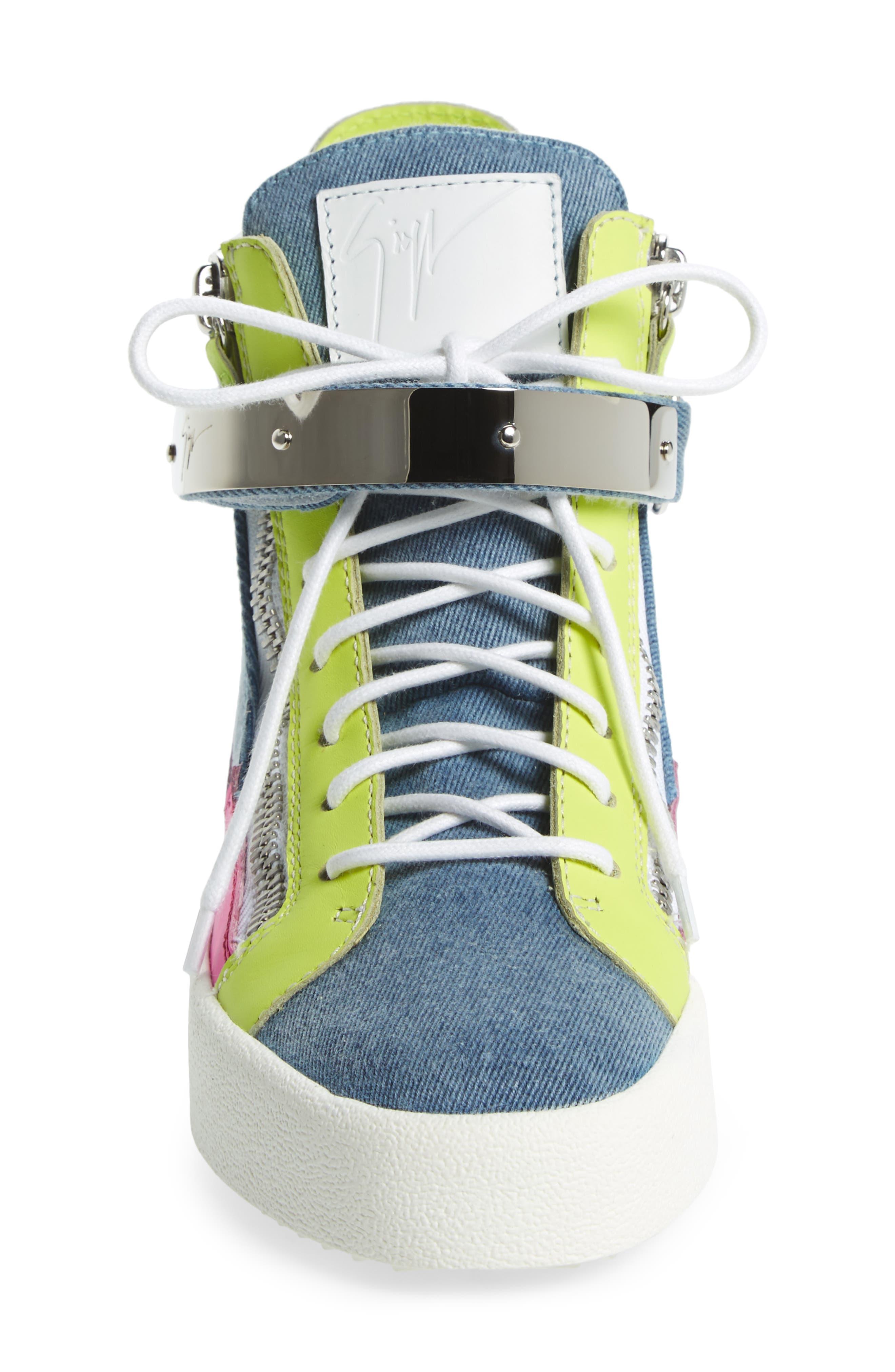 May London High Top Sneaker,                             Alternate thumbnail 4, color,                             Denim