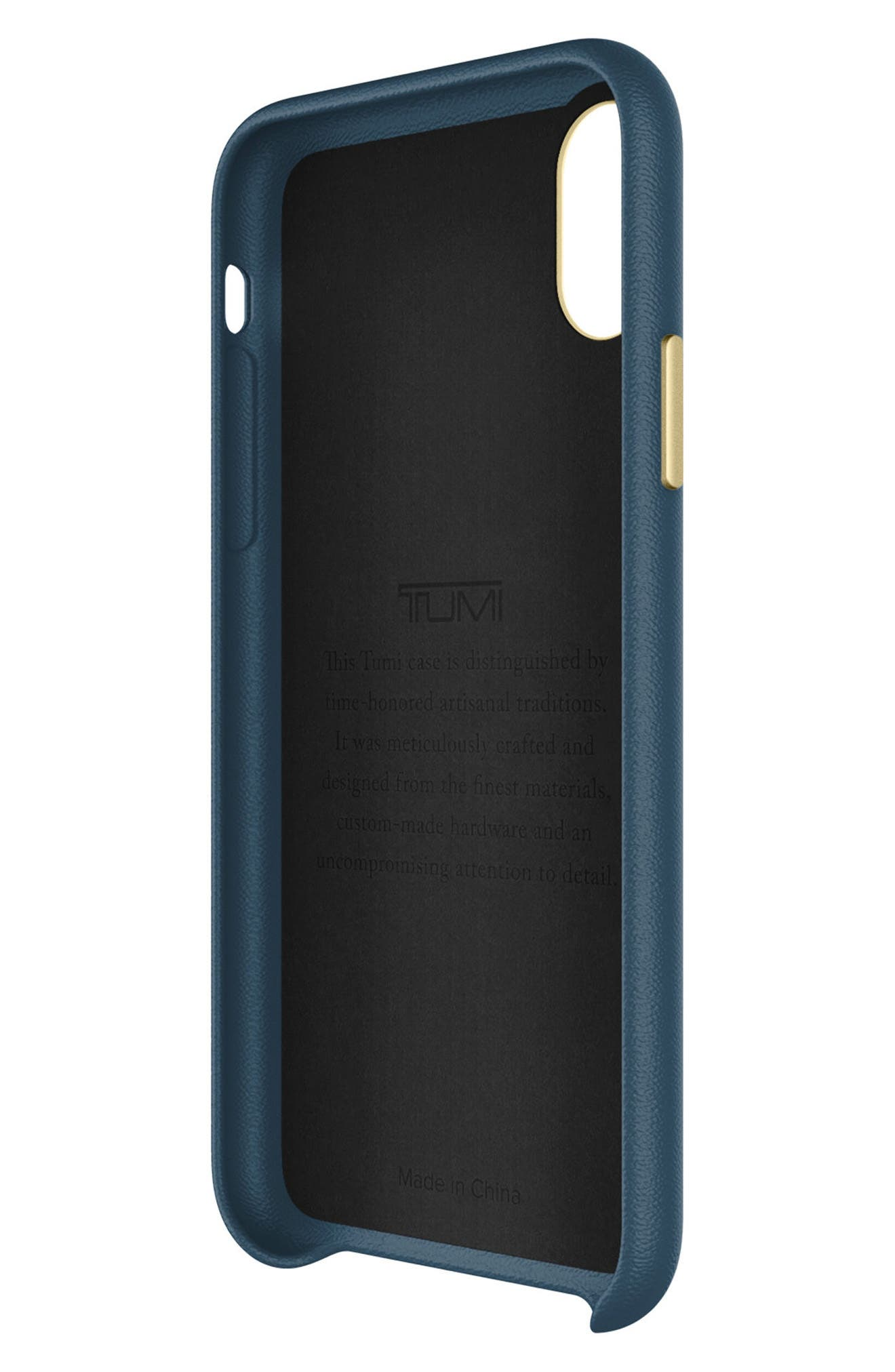 Leather iPhone X Case,                             Alternate thumbnail 3, color,                             Navy