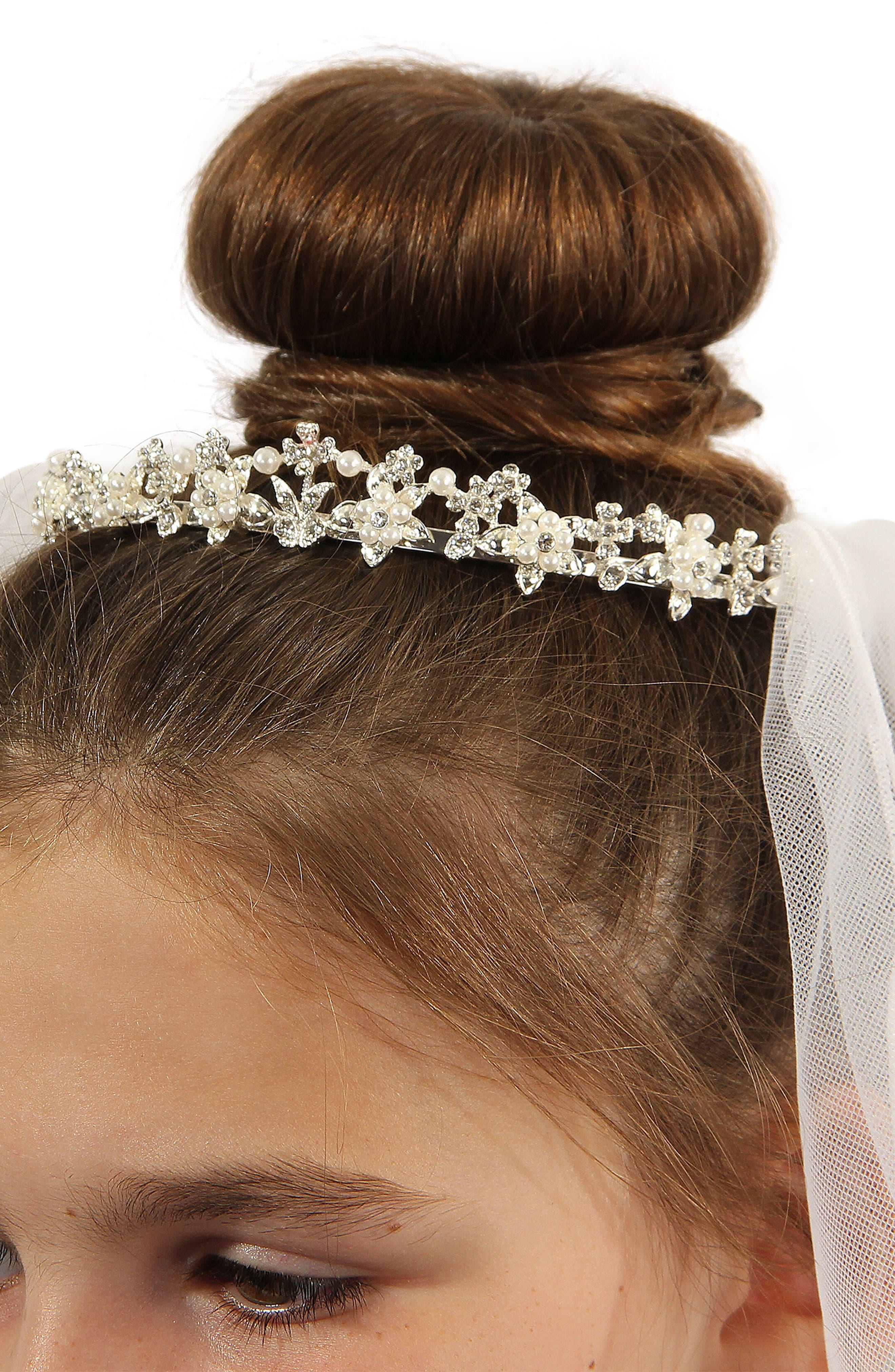 Alternate Image 3  - Lauren Marie Imitation Pearl Crown & Veil (Big Girls)