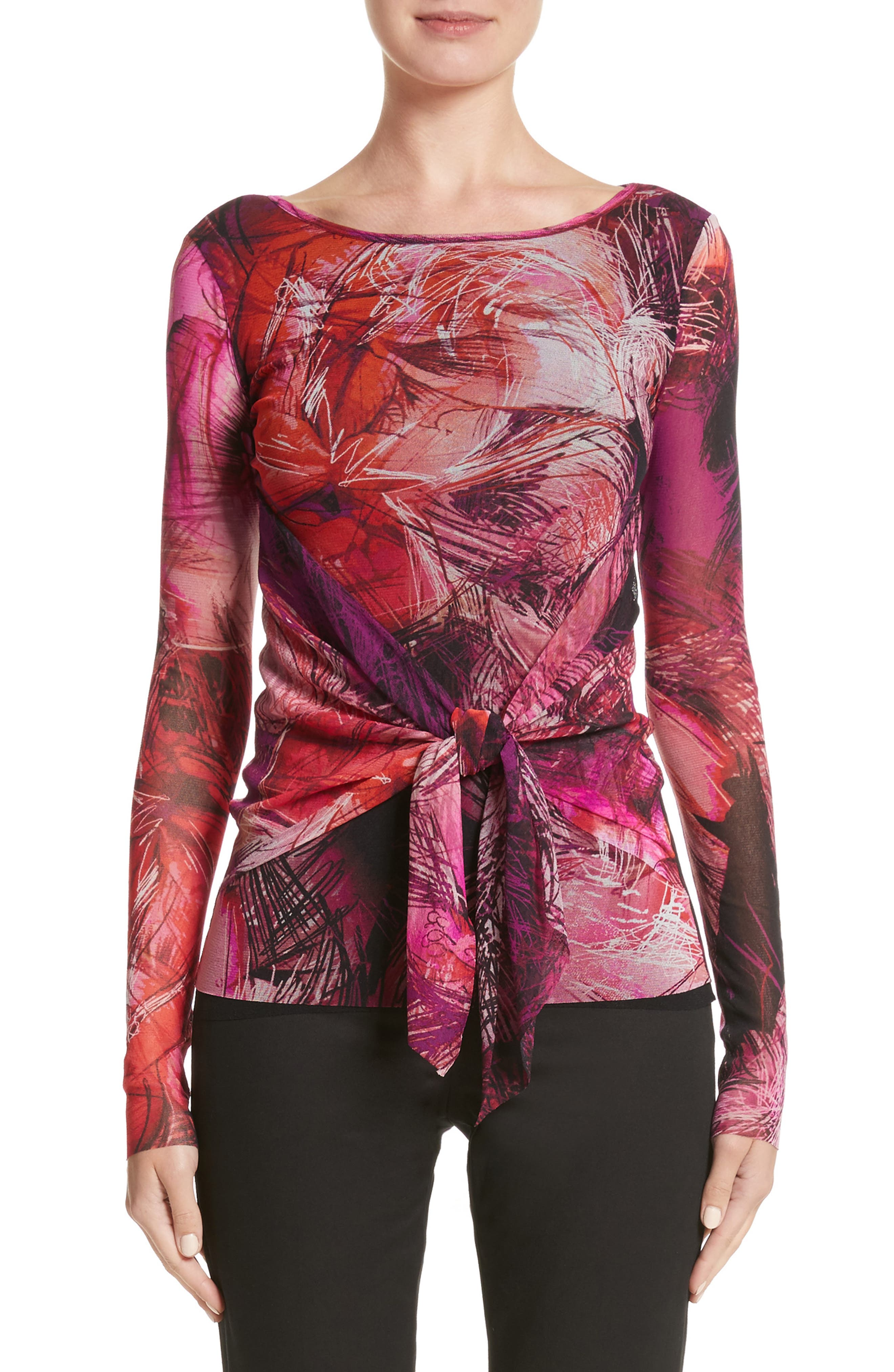 Print Tulle Tie Waist Top,                         Main,                         color, Pink/Purple