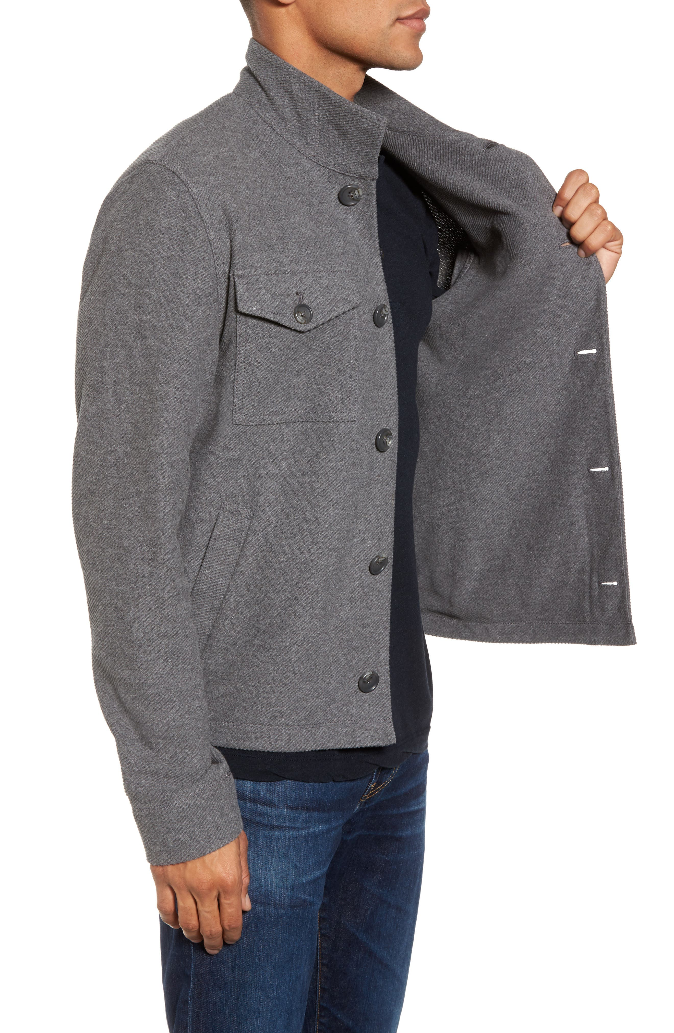 Drill Button Front Knit Jacket,                             Alternate thumbnail 3, color,                             Heather Charcoal