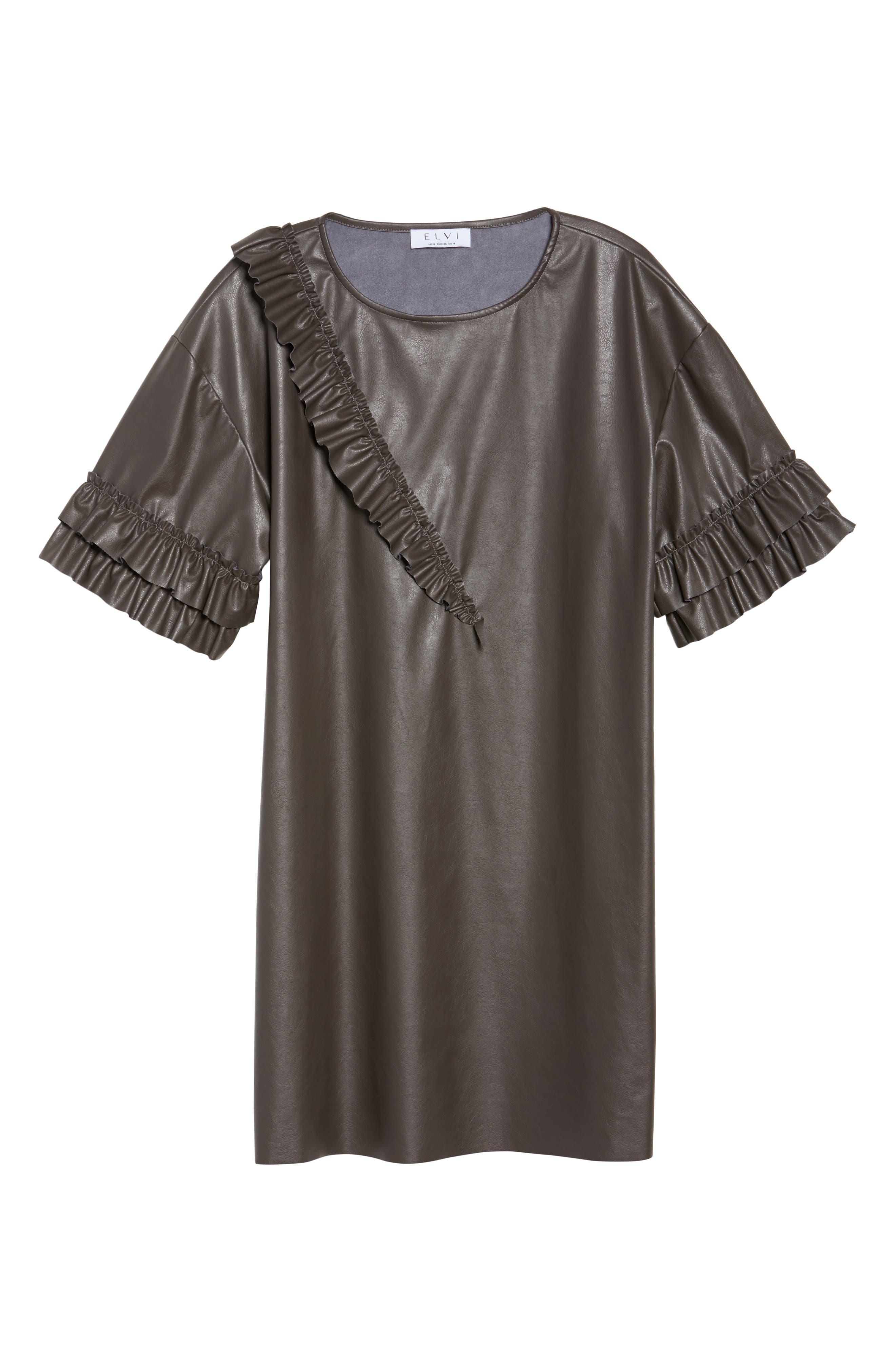 Alternate Image 6  - ELVI Ruffle Shift Dress (Plus Size)