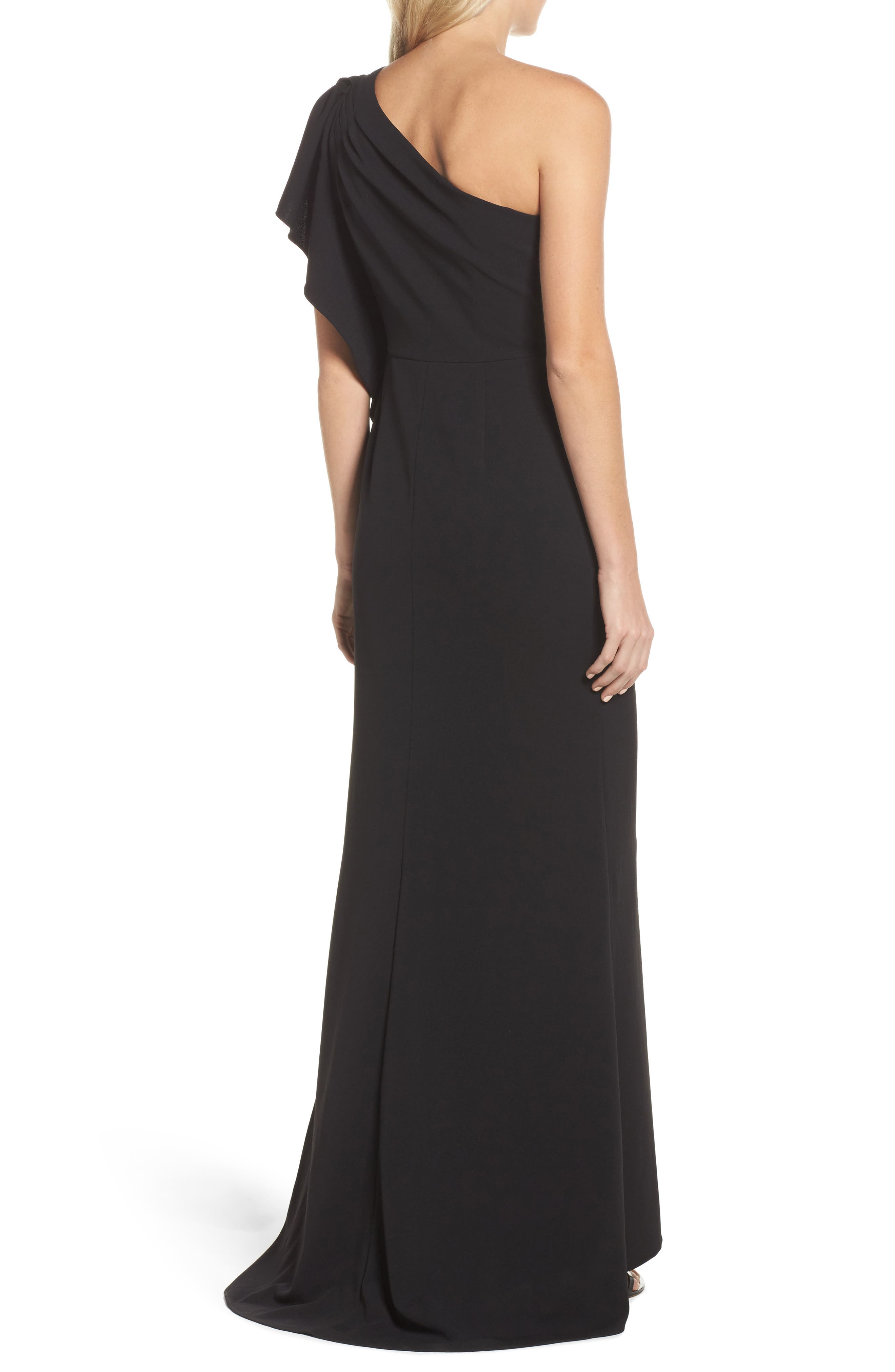 Alternate Image 2  - Adrianna Papell Beaded One-Shoulder Crepe Gown