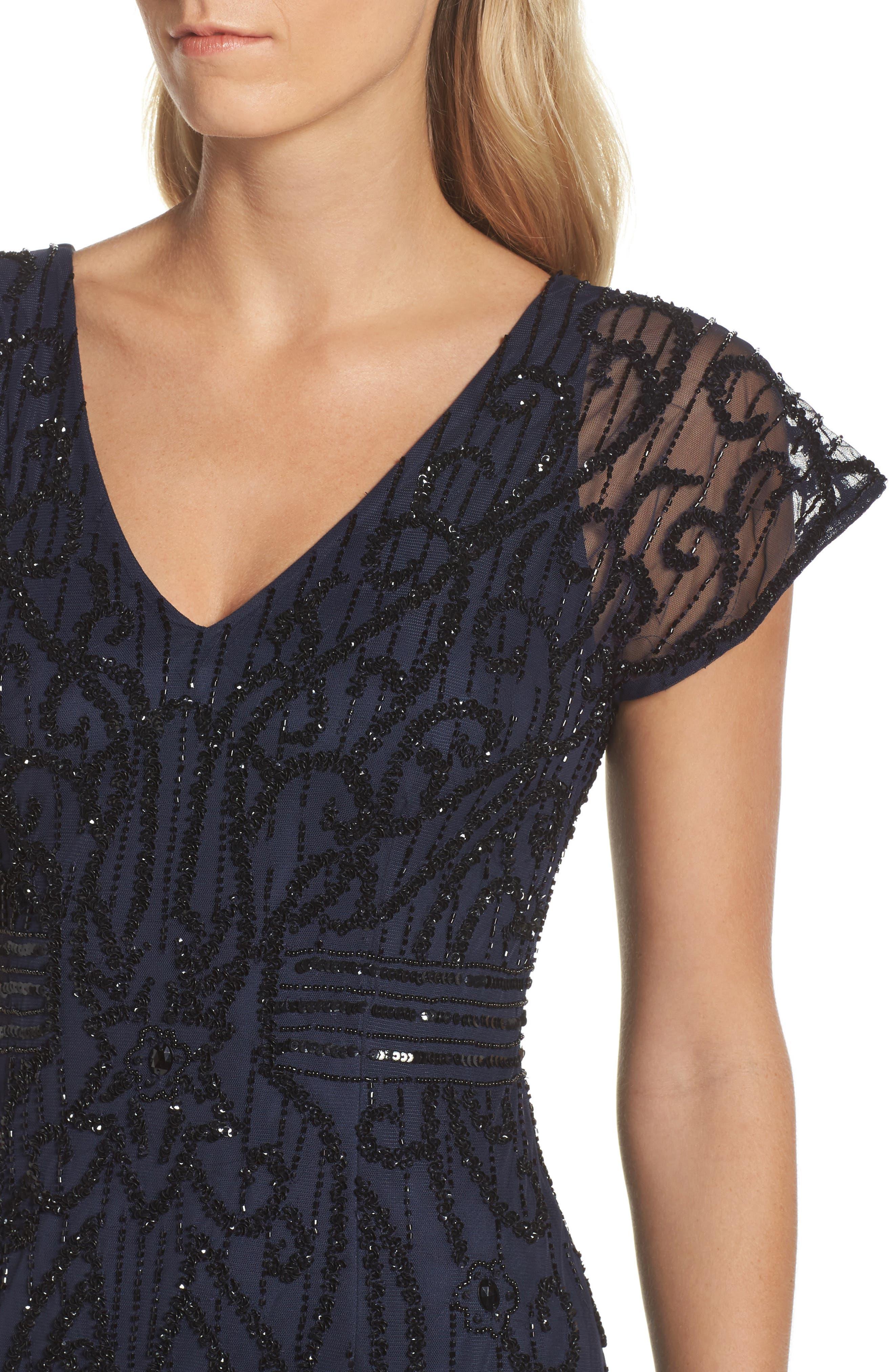 Alternate Image 4  - Adrianna Papell Beaded Mesh Godet Gown