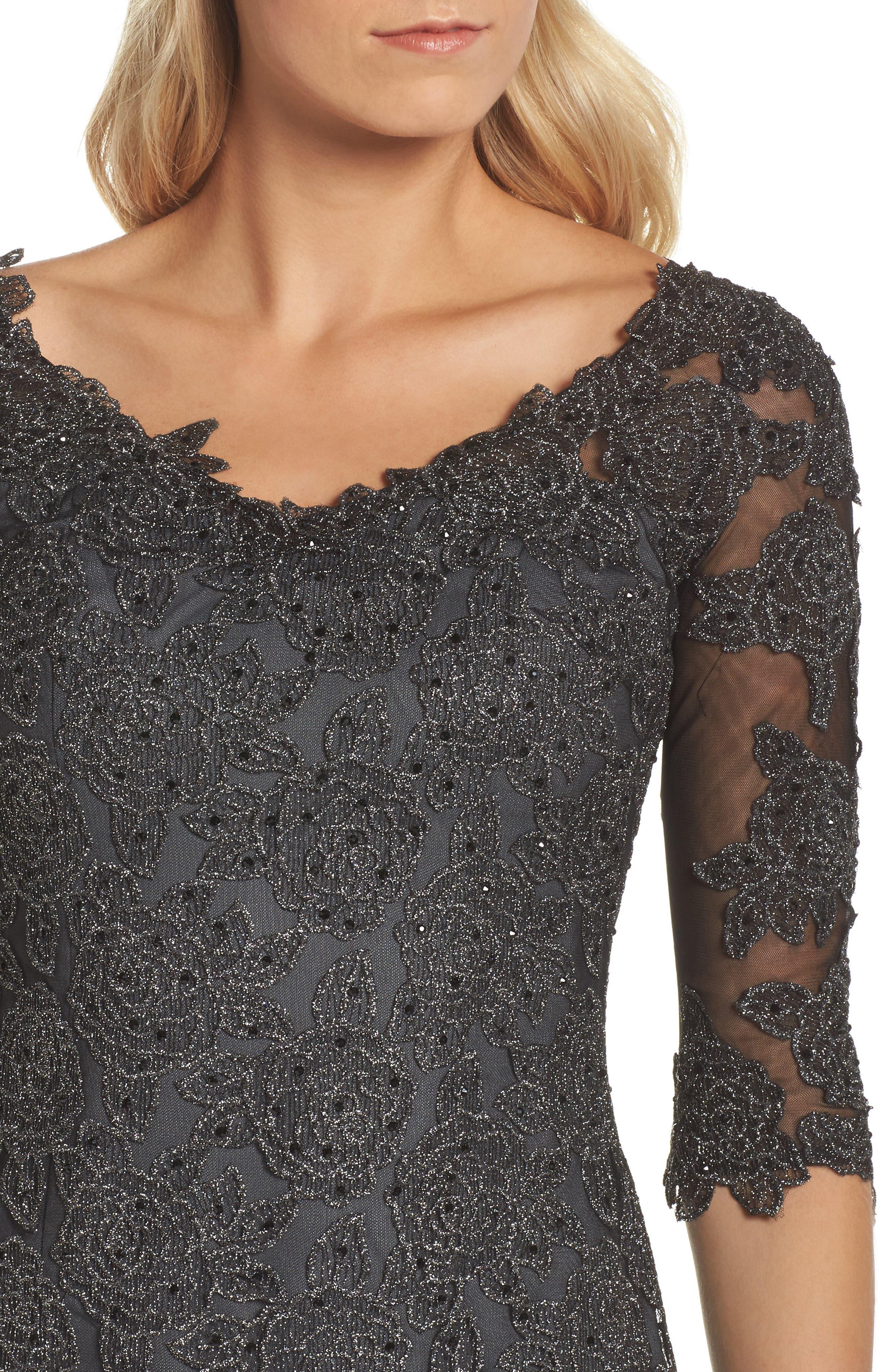 Lace Sheath Dress,                             Alternate thumbnail 4, color,                             Gunmetal