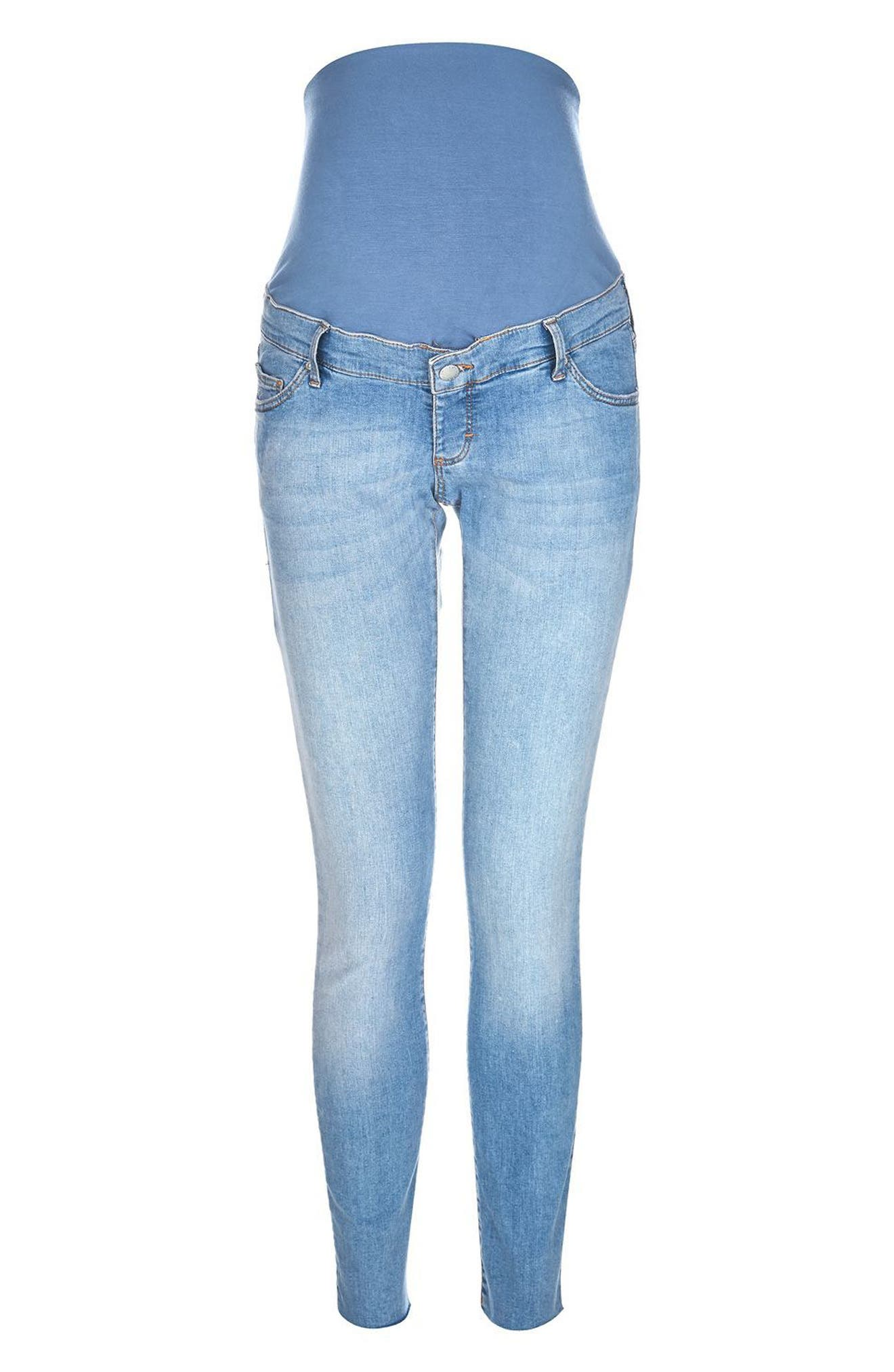 Alternate Image 5  - Topshop Leigh Raw Hem Maternity Skinny Jeans
