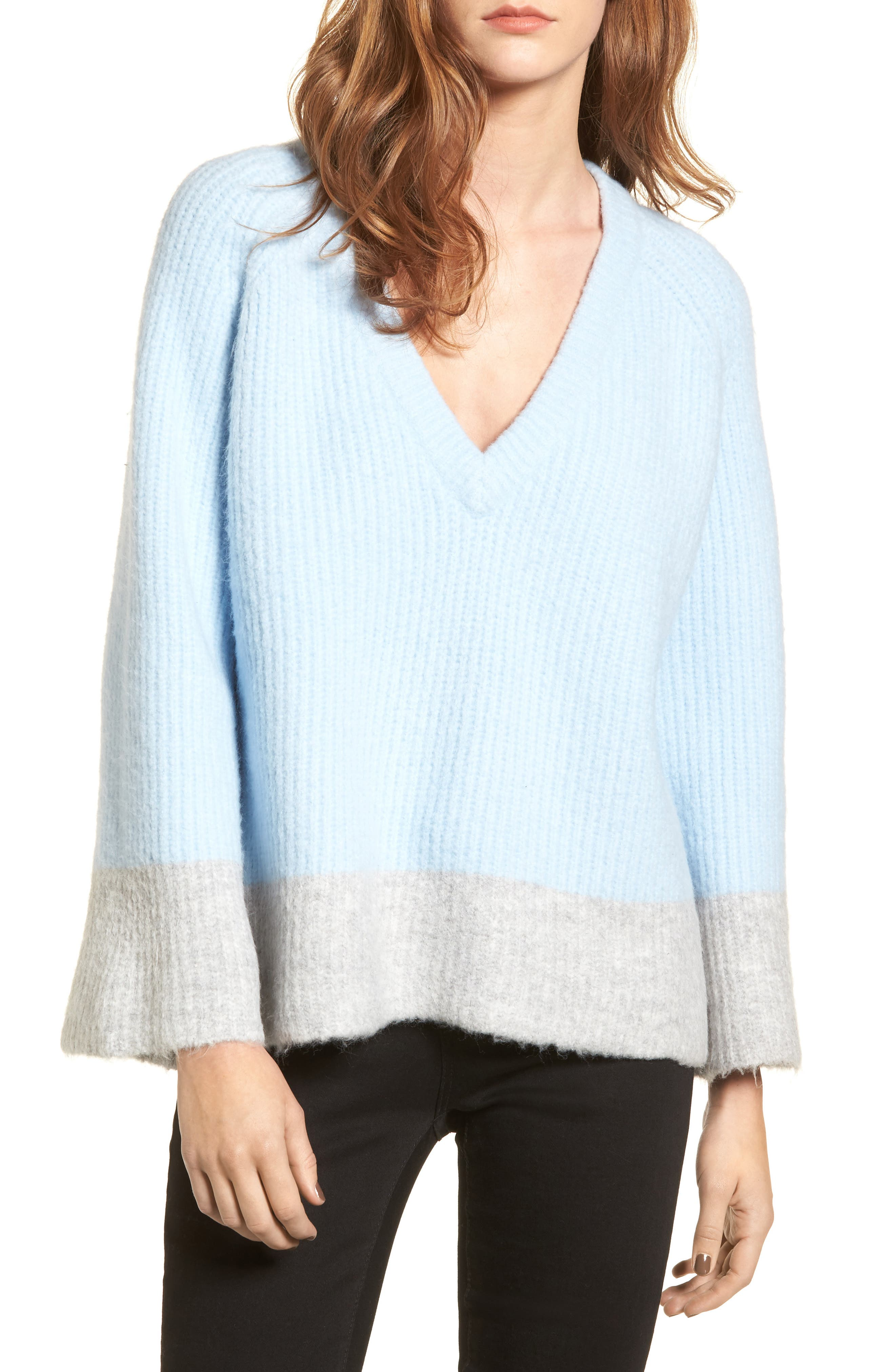 Main Image - LOST INK Oversize V-Neck Sweater