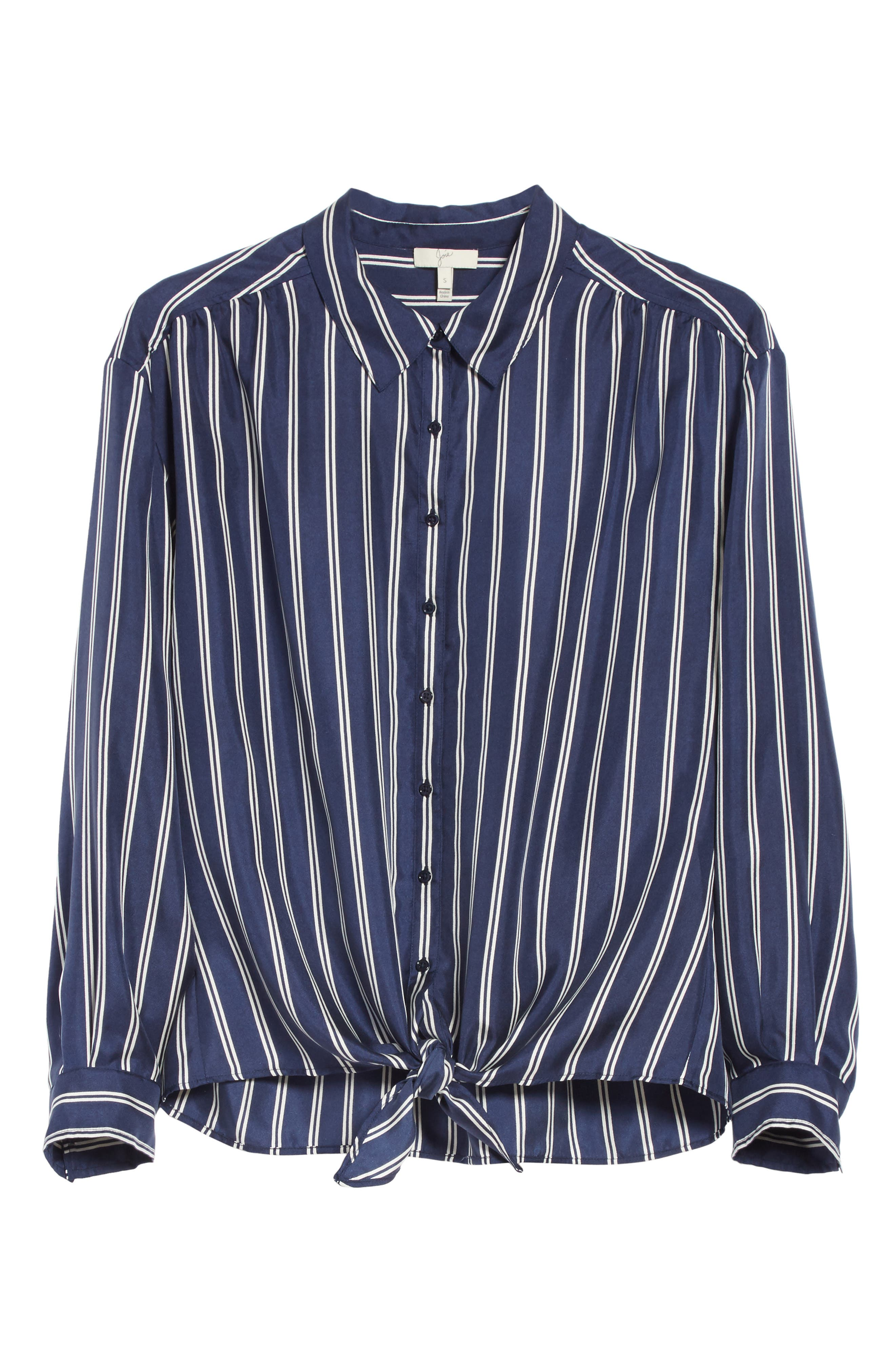 Adiba Stripe Silk Shirt,                             Alternate thumbnail 6, color,                             Dark Navy