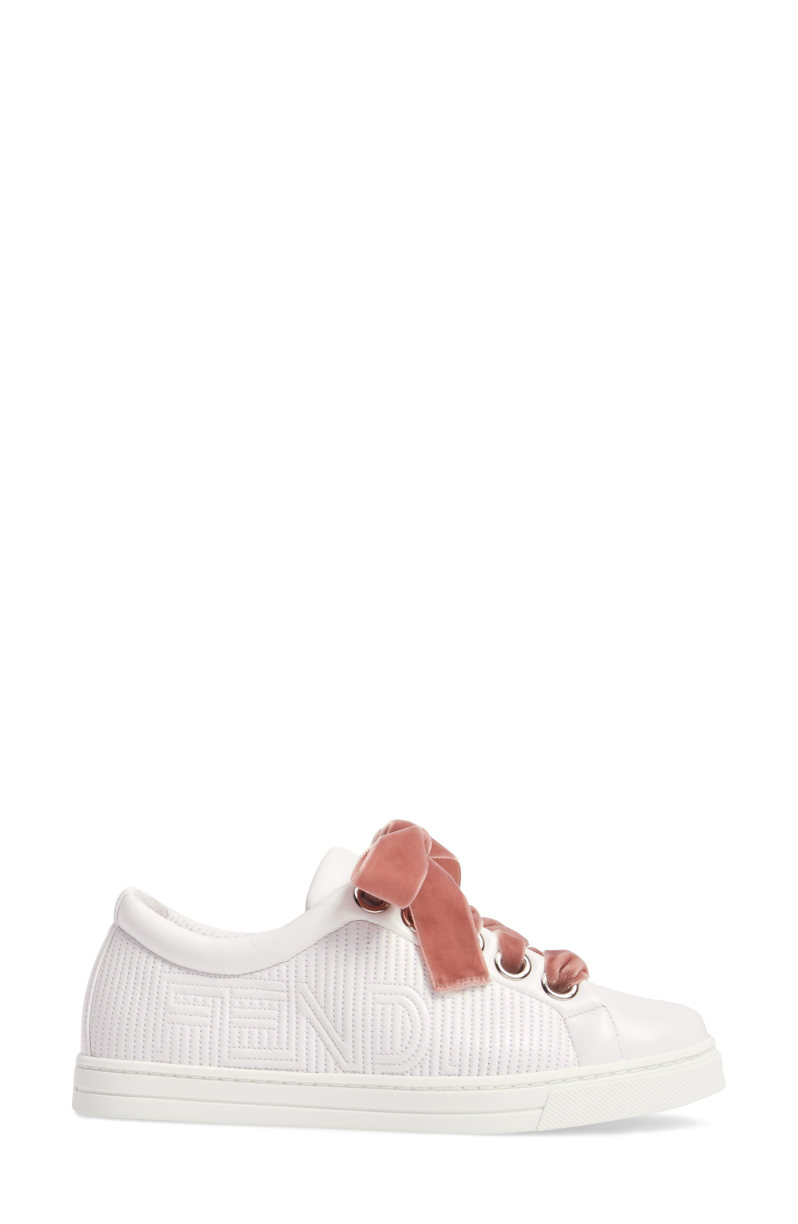 Matelassé Sneaker,                             Alternate thumbnail 3, color,                             White