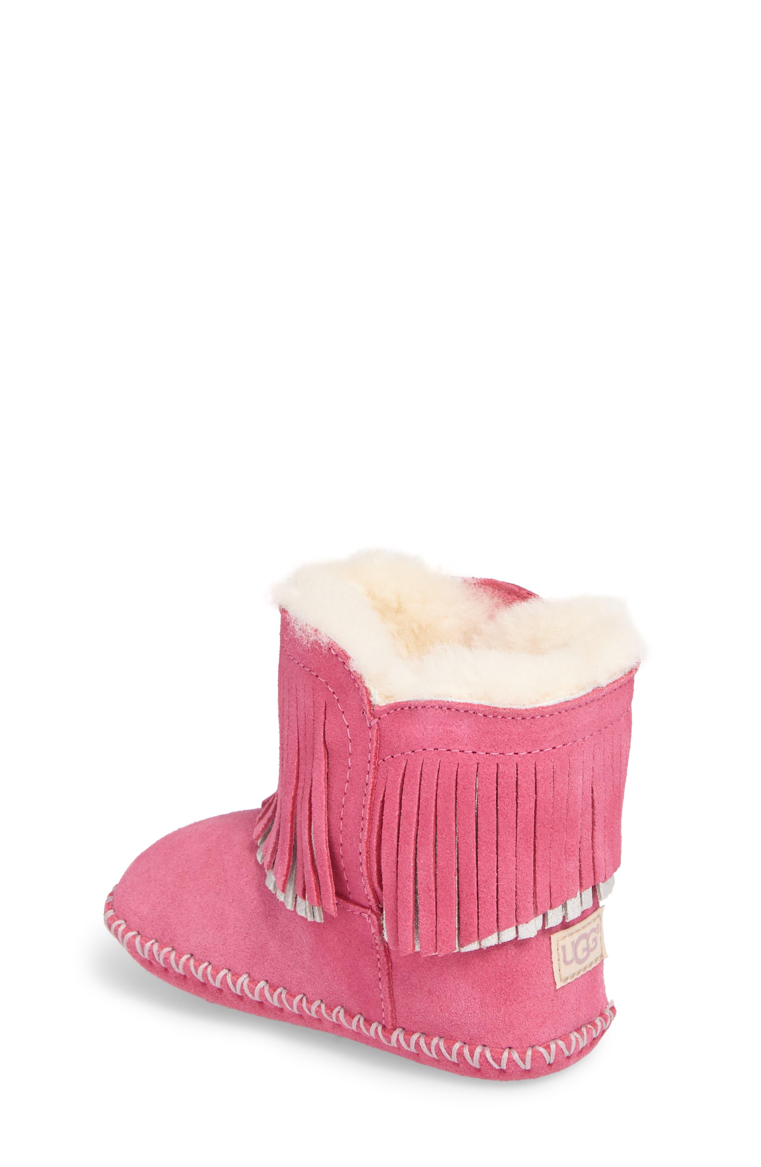 Branyon Fringe Genuine Shearling Bootie,                             Alternate thumbnail 2, color,                             Pink Azalea