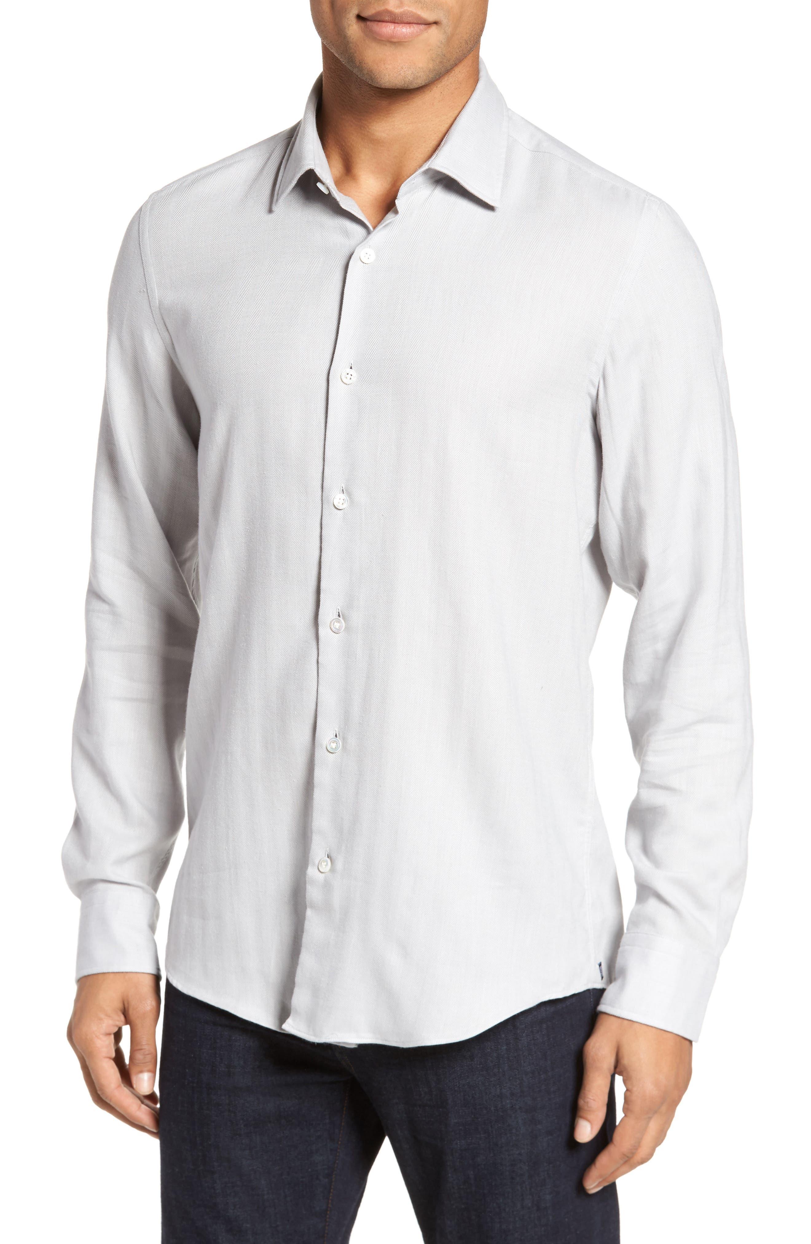 Landon Herringbone Shirt,                             Main thumbnail 1, color,                             Grey