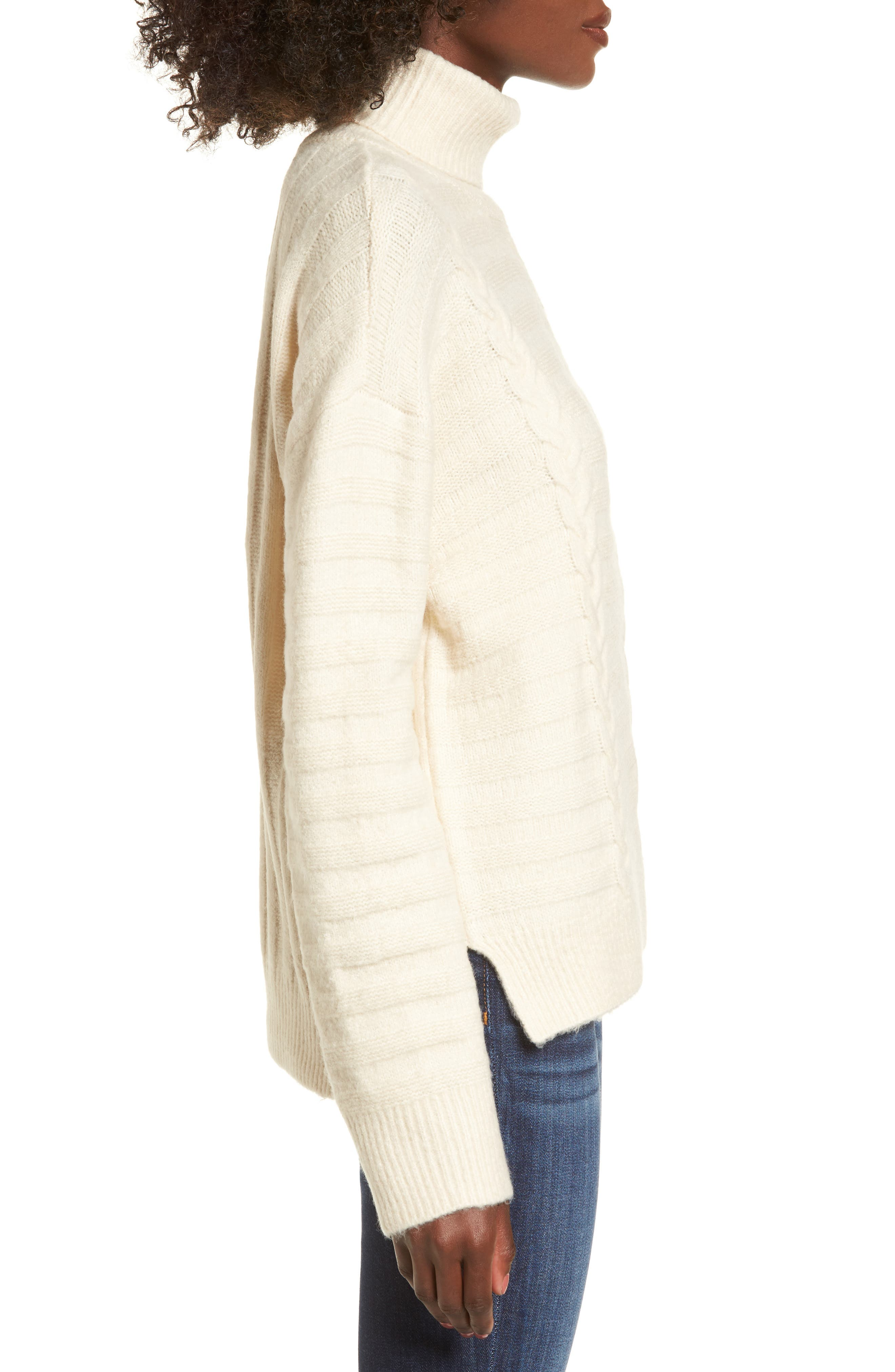 Turtleneck Sweater,                             Alternate thumbnail 3, color,                             Ivory
