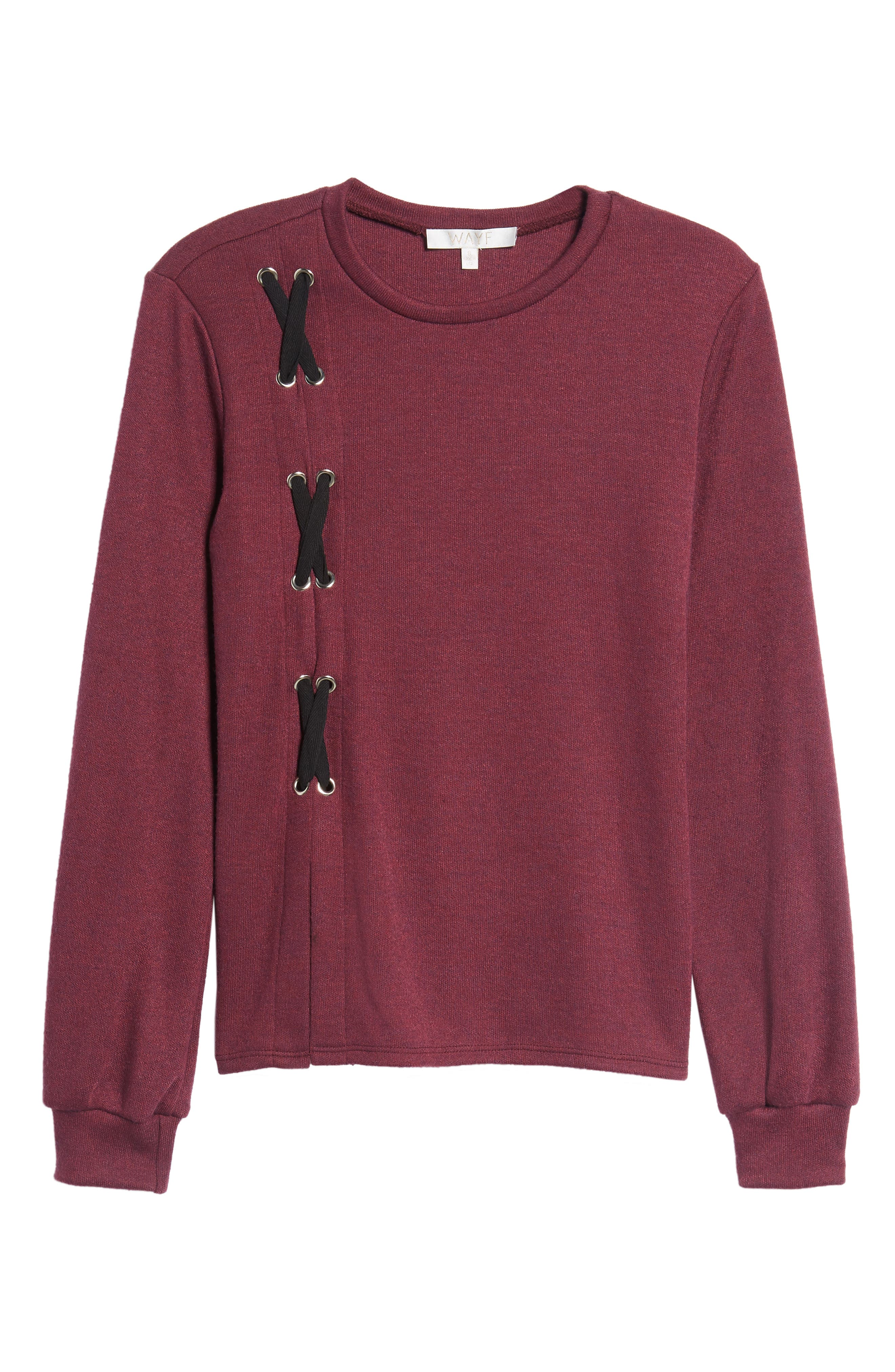 Lace-Up Sweater,                             Alternate thumbnail 6, color,                             Burgundy