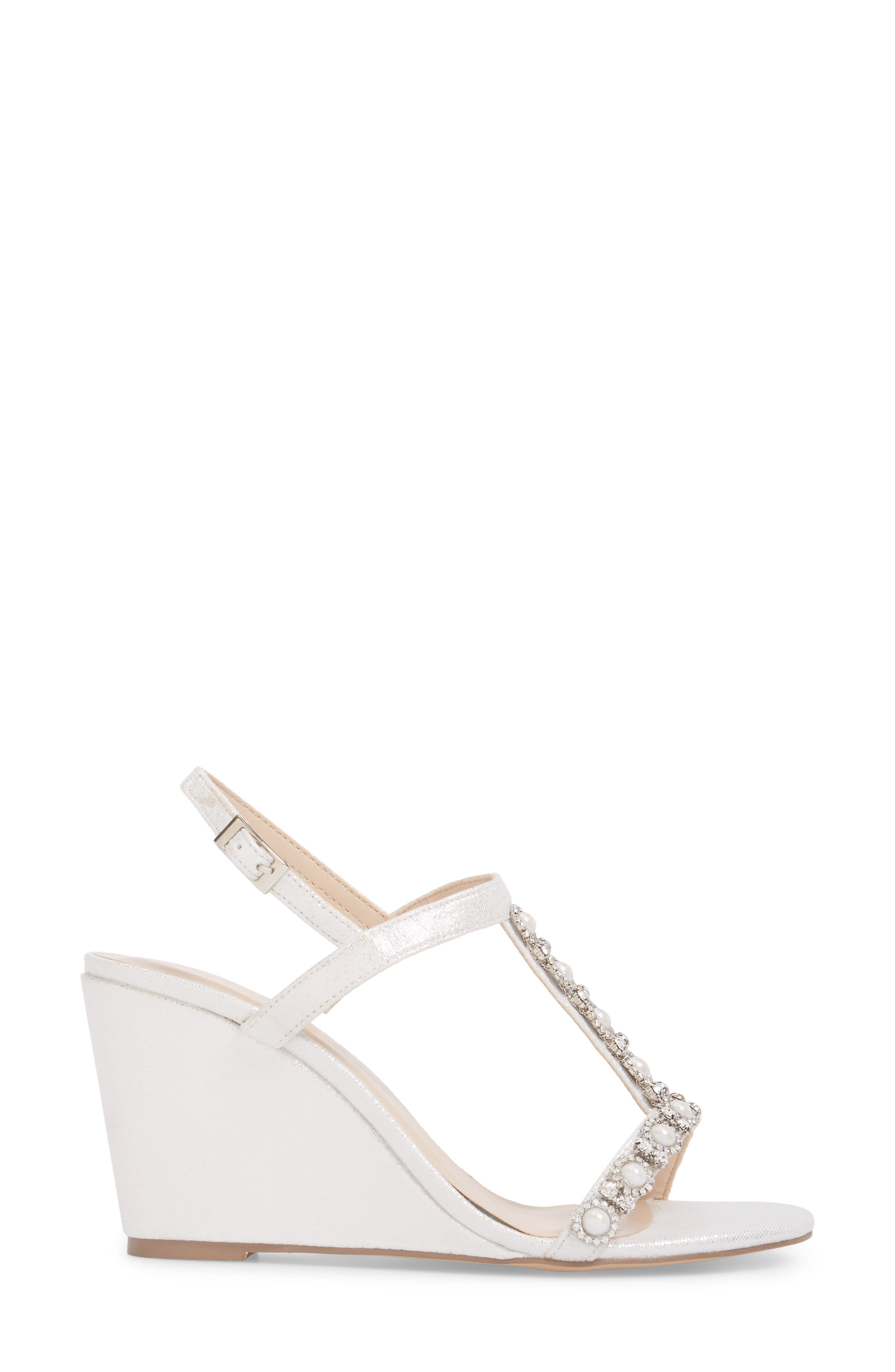 Kiana Embellished Wedge Sandal,                             Alternate thumbnail 3, color,                             Silver Glitter