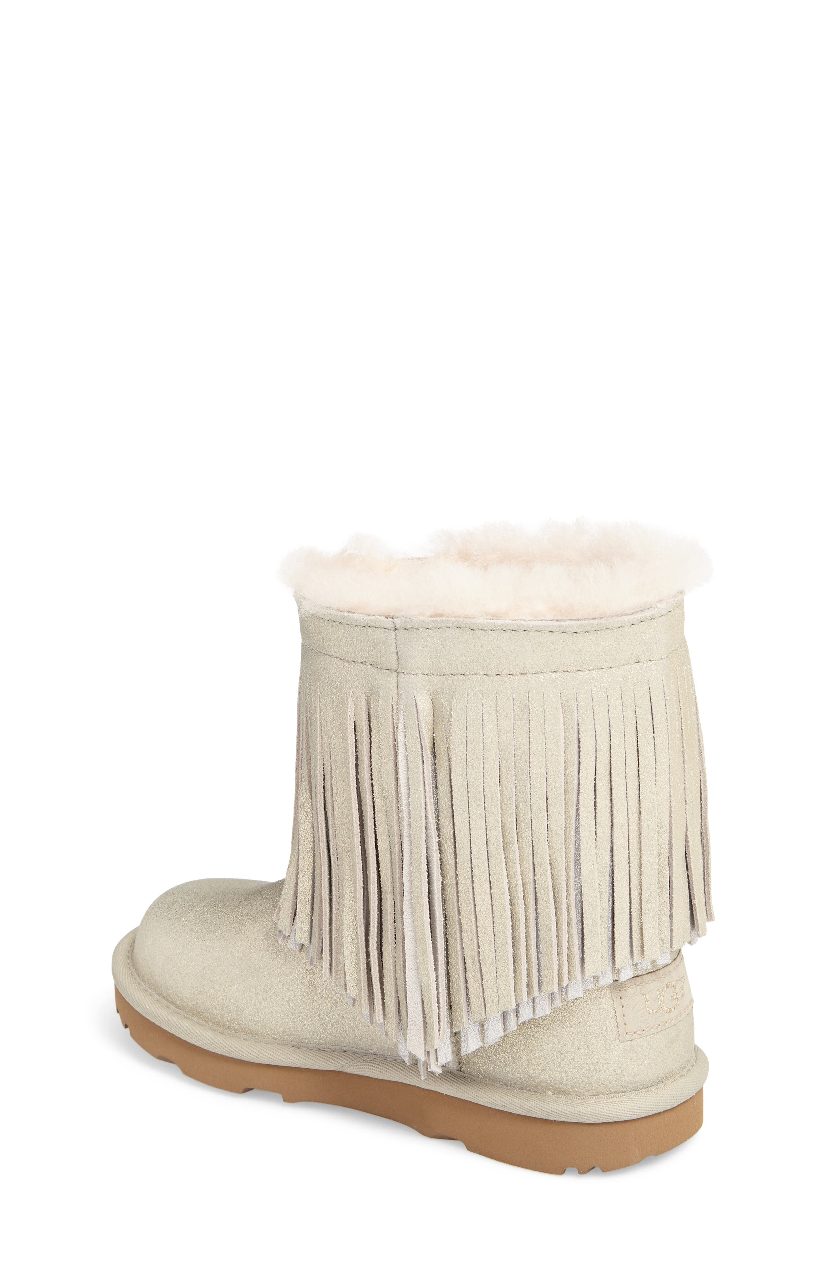 Classic Short II Genuine Shearling Metallic Fringe Bootie,                             Alternate thumbnail 2, color,                             Gold