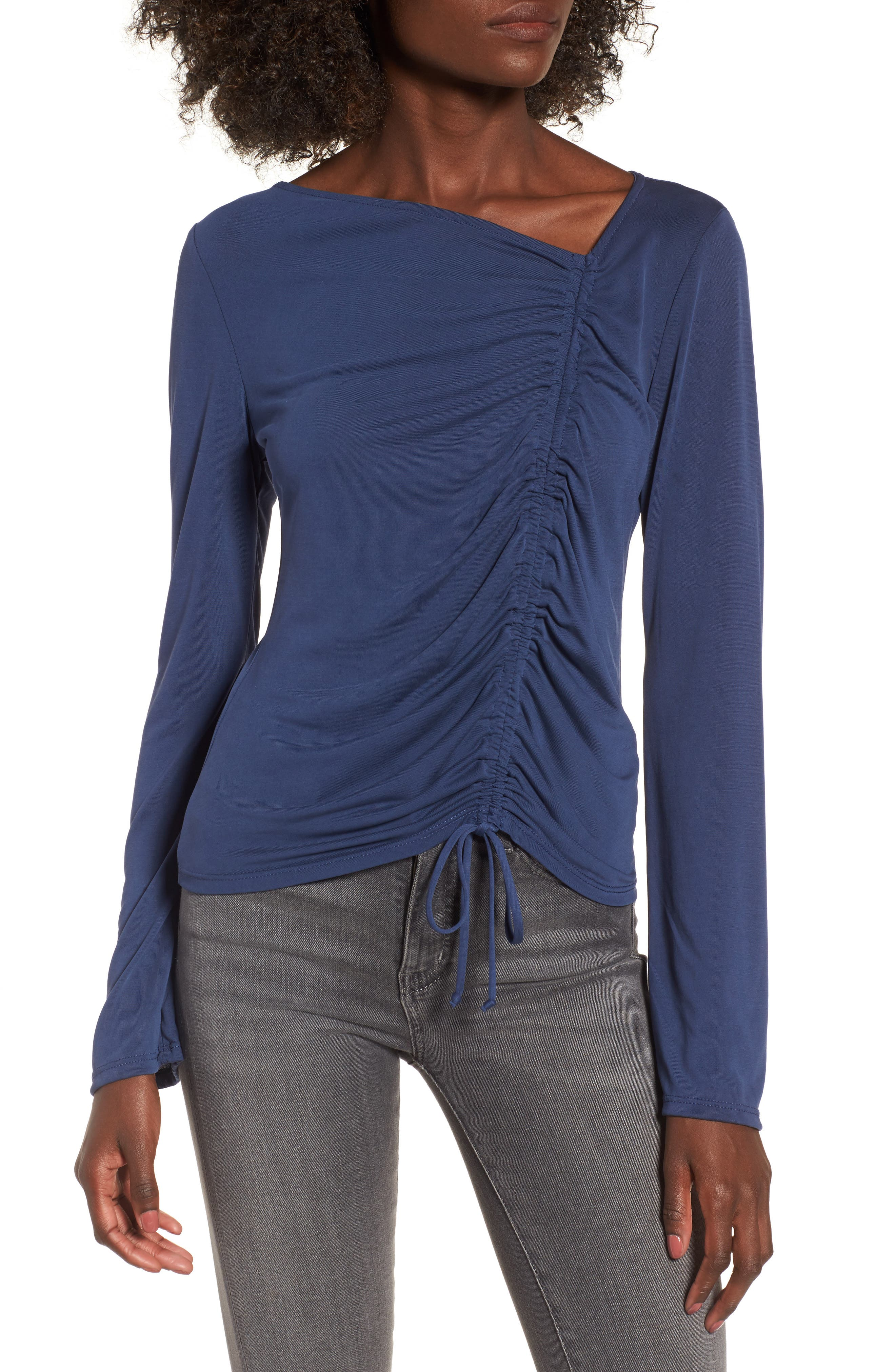 Ruched Front Tee,                         Main,                         color, Navy