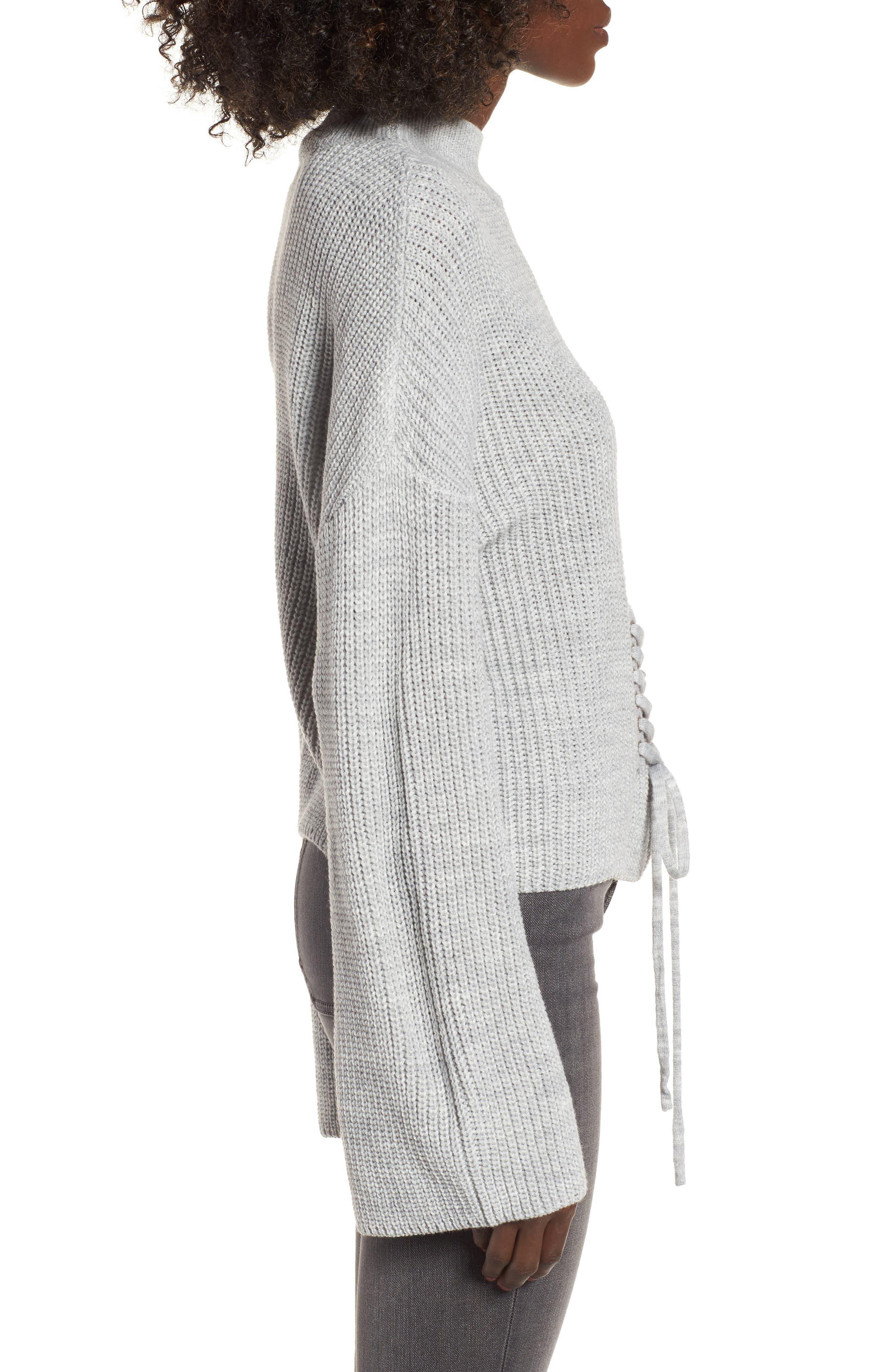 Corset Sweater,                             Alternate thumbnail 3, color,                             Grey