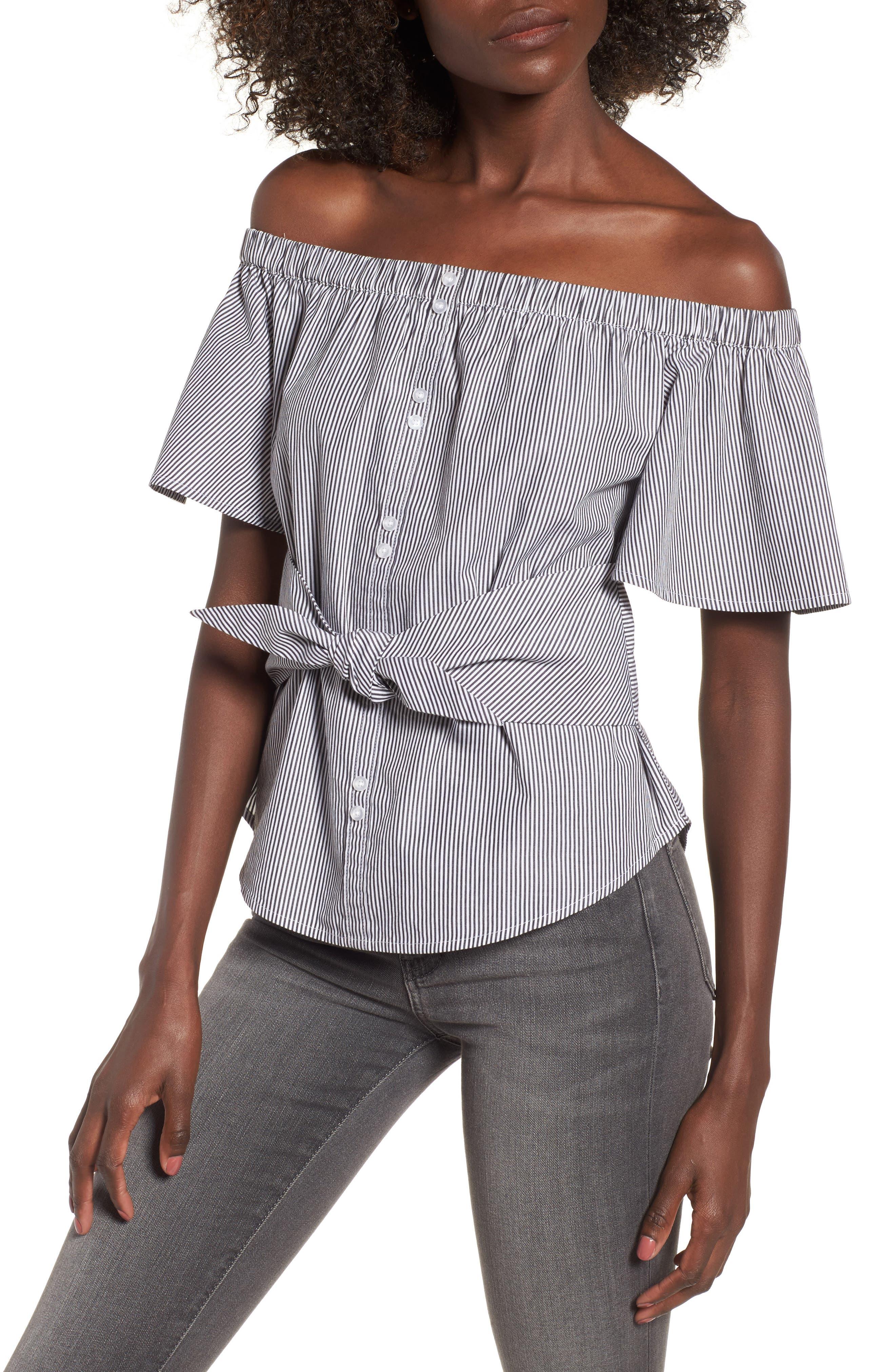 BP Tie Detail Off the Shoulder Top,                         Main,                         color, Black Jenny Stripe