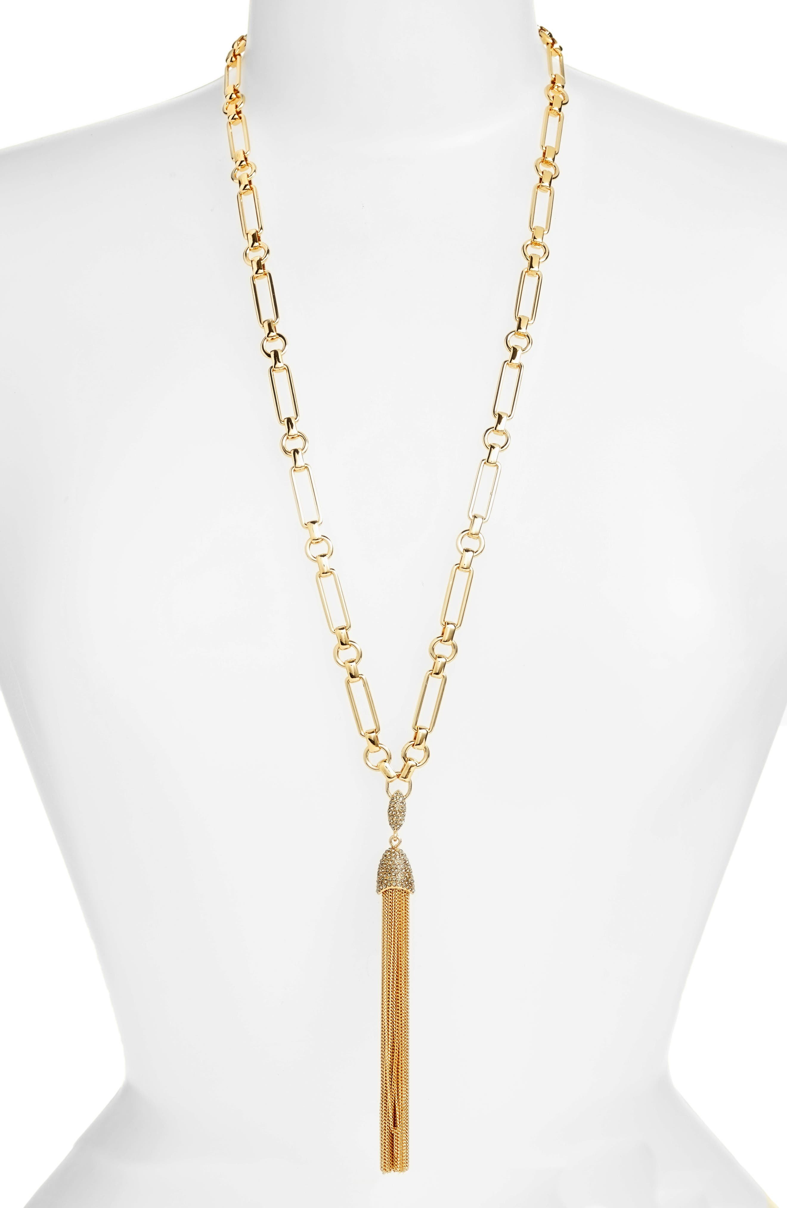 Chain Tassel Y-Necklace,                         Main,                         color, Gold
