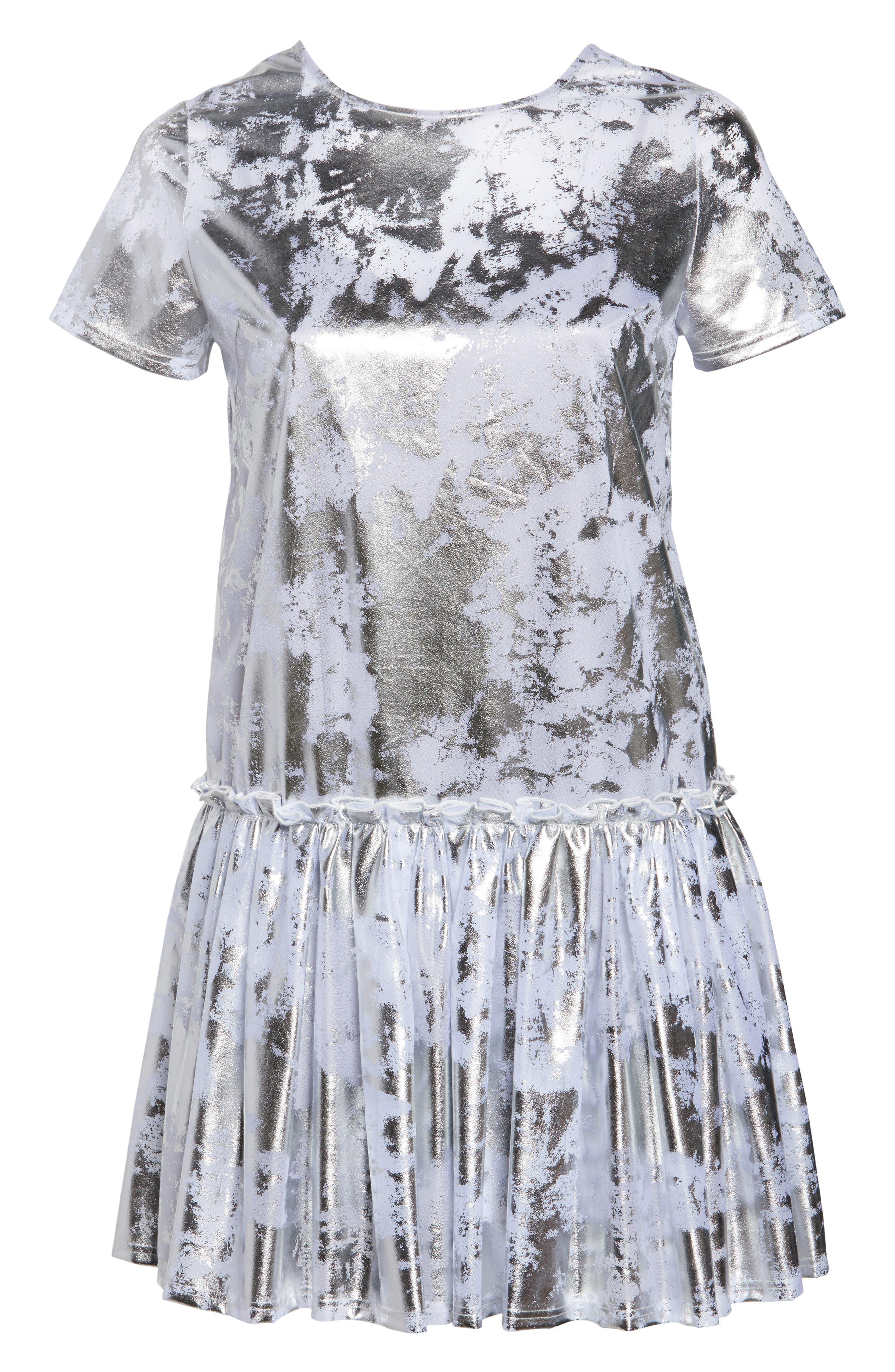 Metallic Swing Dress,                             Alternate thumbnail 7, color,                             Silver