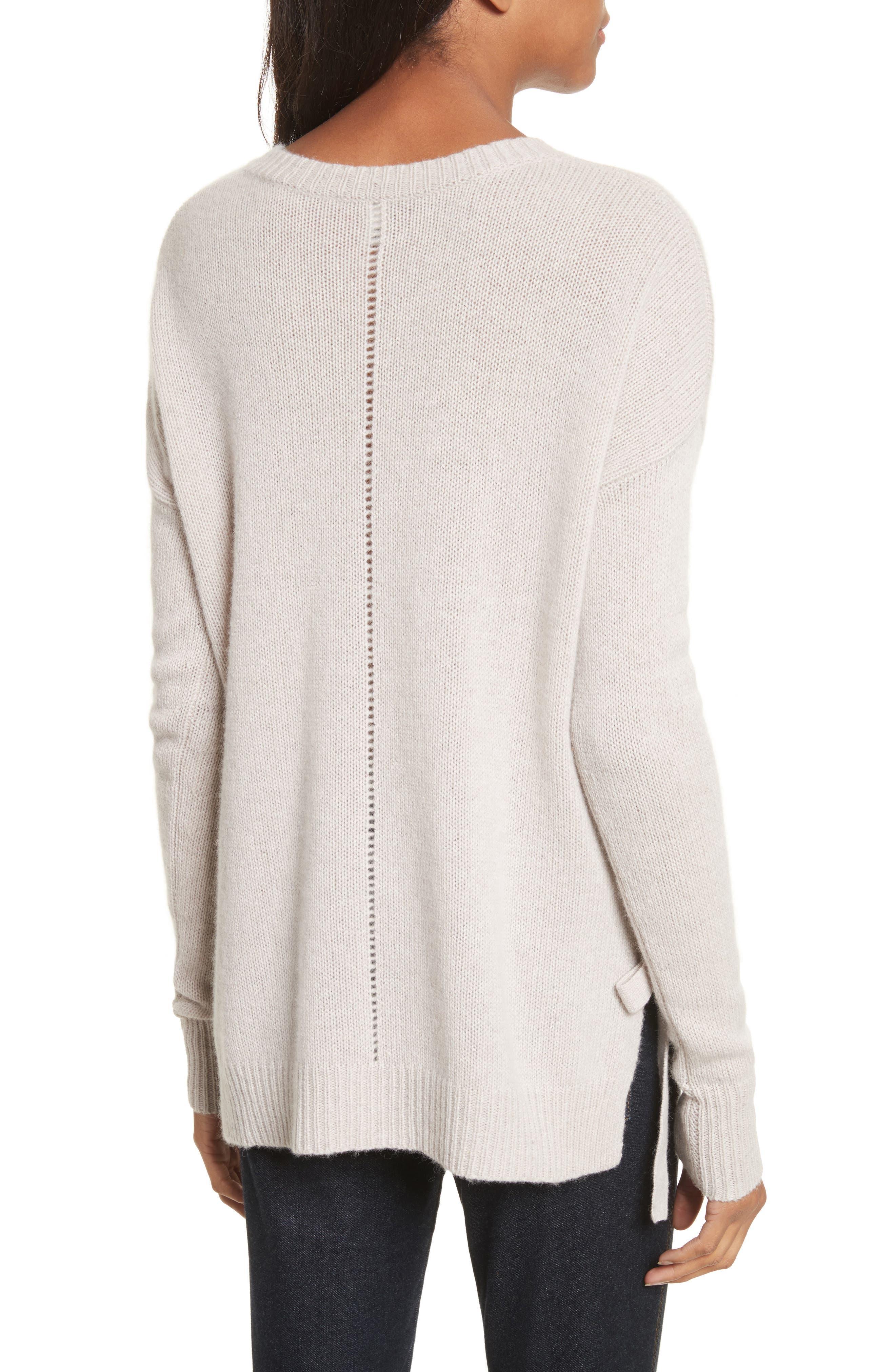 Tie Hem Cashmere Sweater,                             Alternate thumbnail 2, color,                             Bone