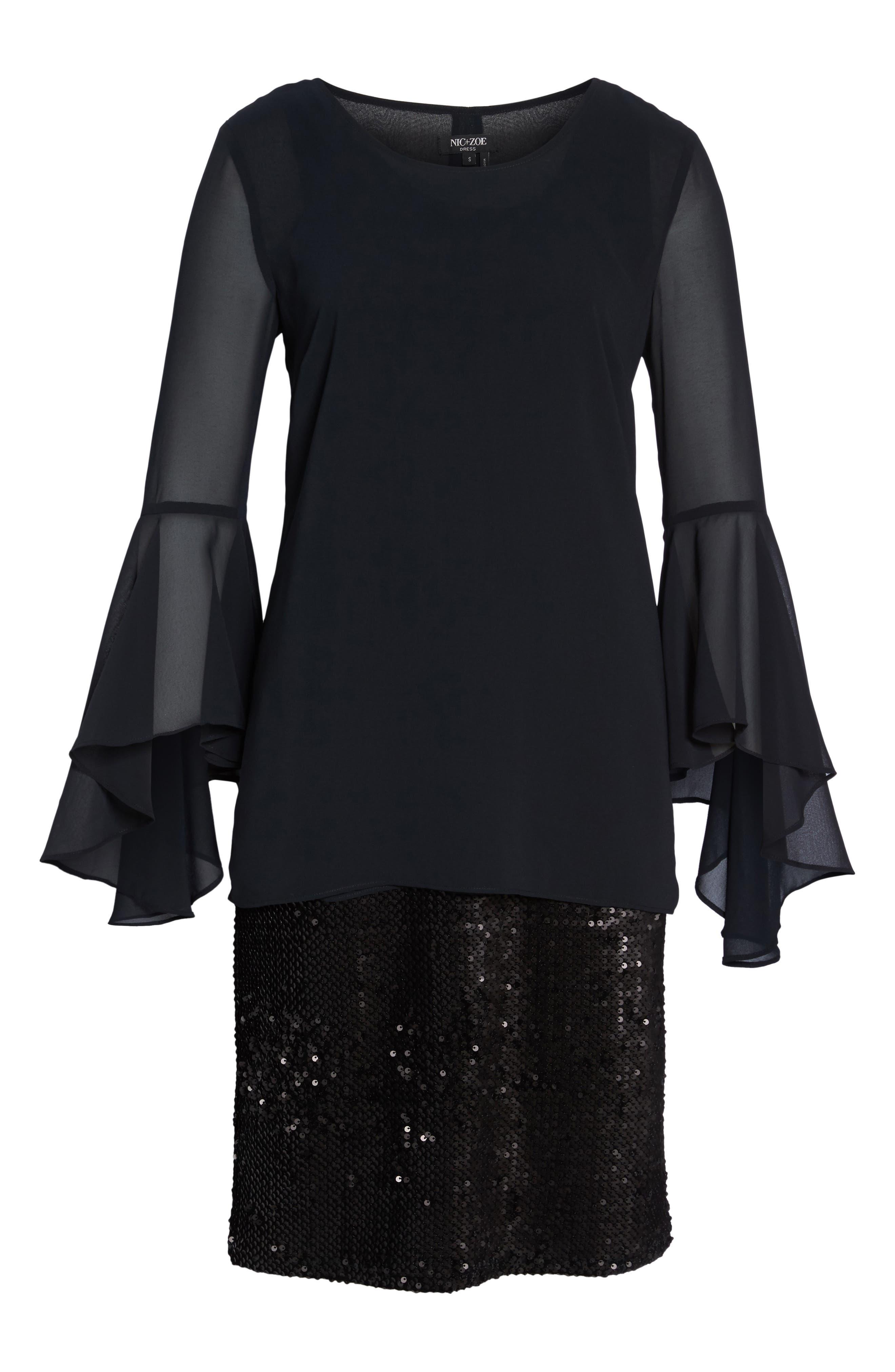 Sequin Chiffon Dress,                             Alternate thumbnail 6, color,                             Black Onyx
