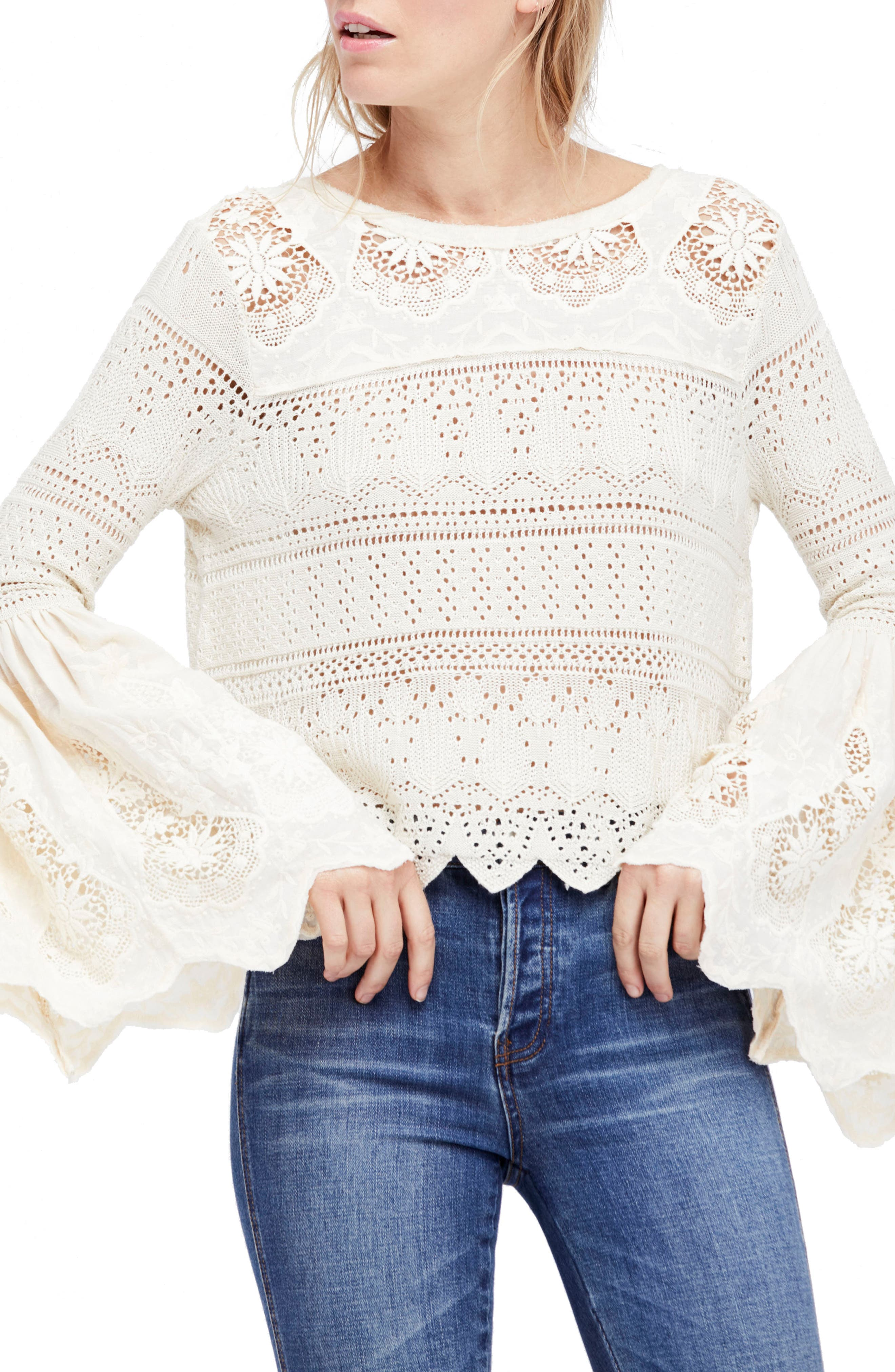 Once Upon a Time Lace Top,                         Main,                         color, Ivory