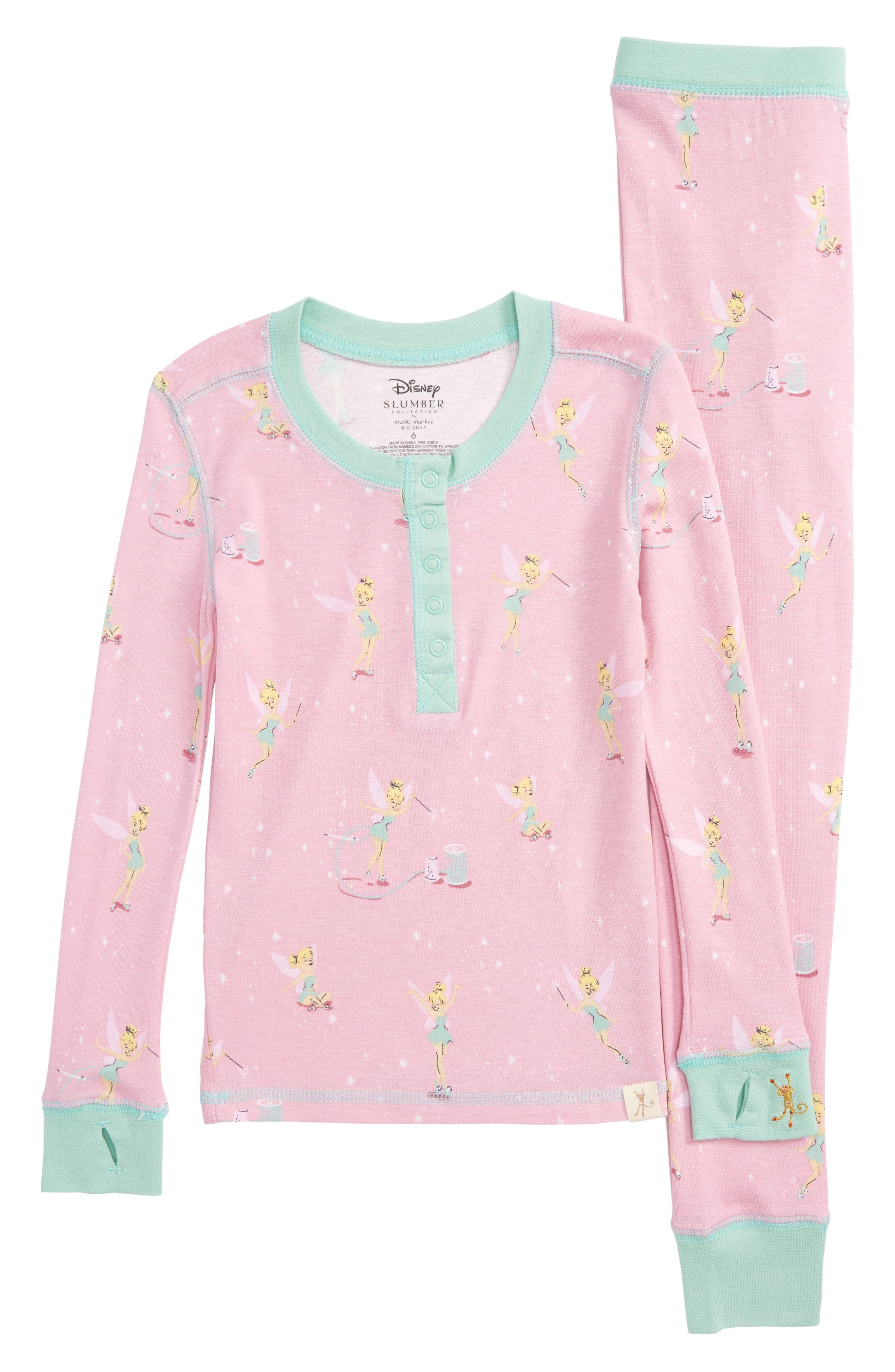 Main Image - Munki Munki Disney – Tinkerbell Fitted Two-Piece Pajamas (Toddler Girls, Little Girls & Big Girls)